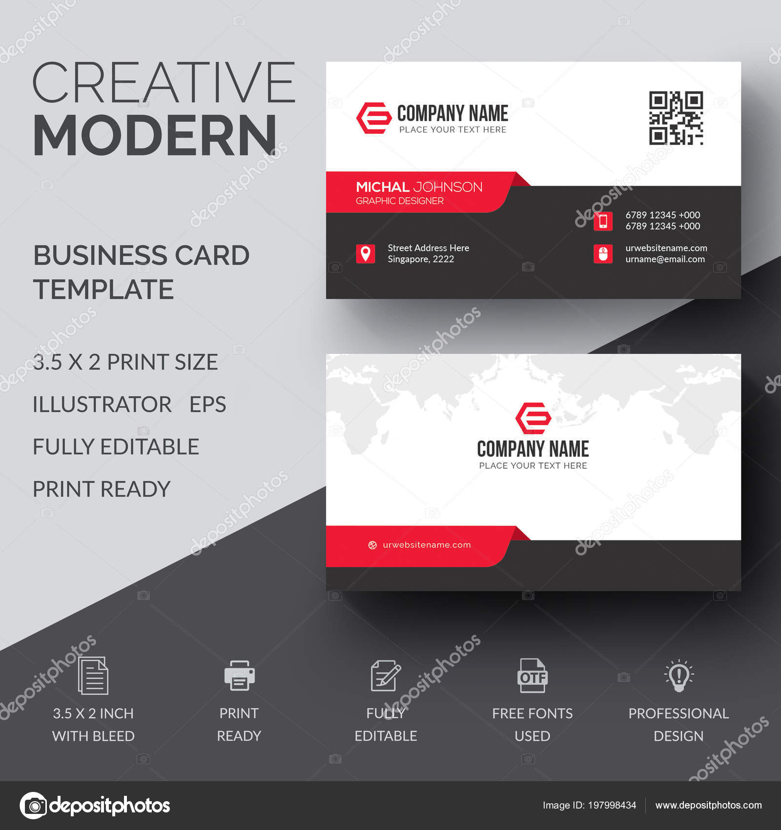 Vector Design Moderne Kreative Und Saubere Visitenkarte