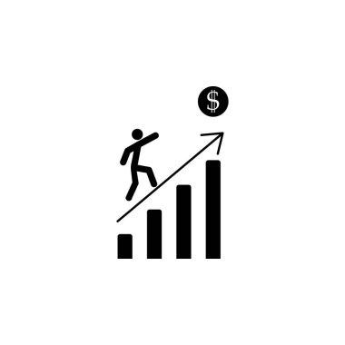 Businessman Run Financial Bar Graph glat vector icon.
