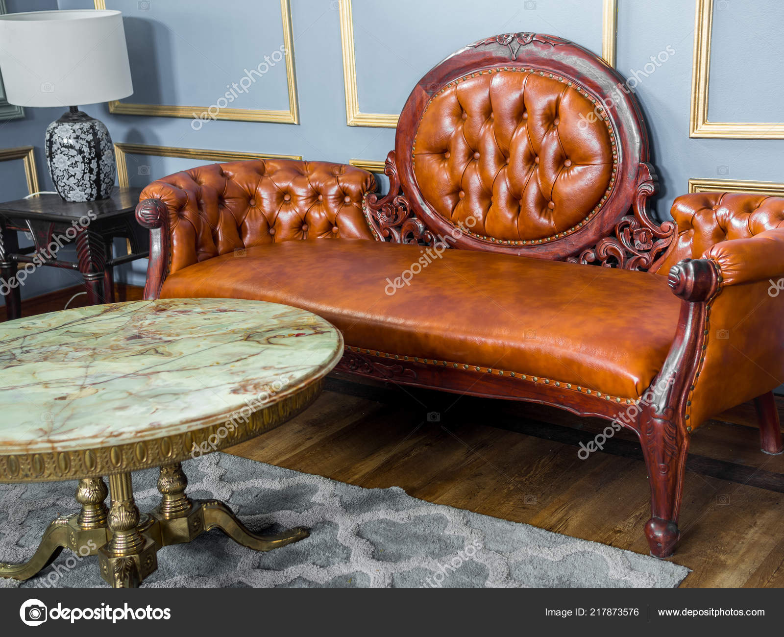 Vintage Luxury Red Brown Leather Sofa Marble Brass Table Vintage Stock Photo C Tete Escape 217873576