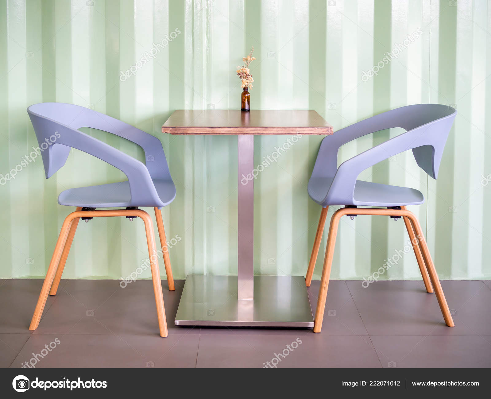 Modern Blue Chairs Wooden Table Light Green Shipping Container Wall Stock Photo C Tete Escape 222071012