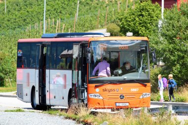 Sekse, Norway - June 22, 2018: Skyss bus at the Sekse bus stop. Skyss is the public authority that is responsible for public transport in Hordaland, covering bus, light rail, boat and ferry.