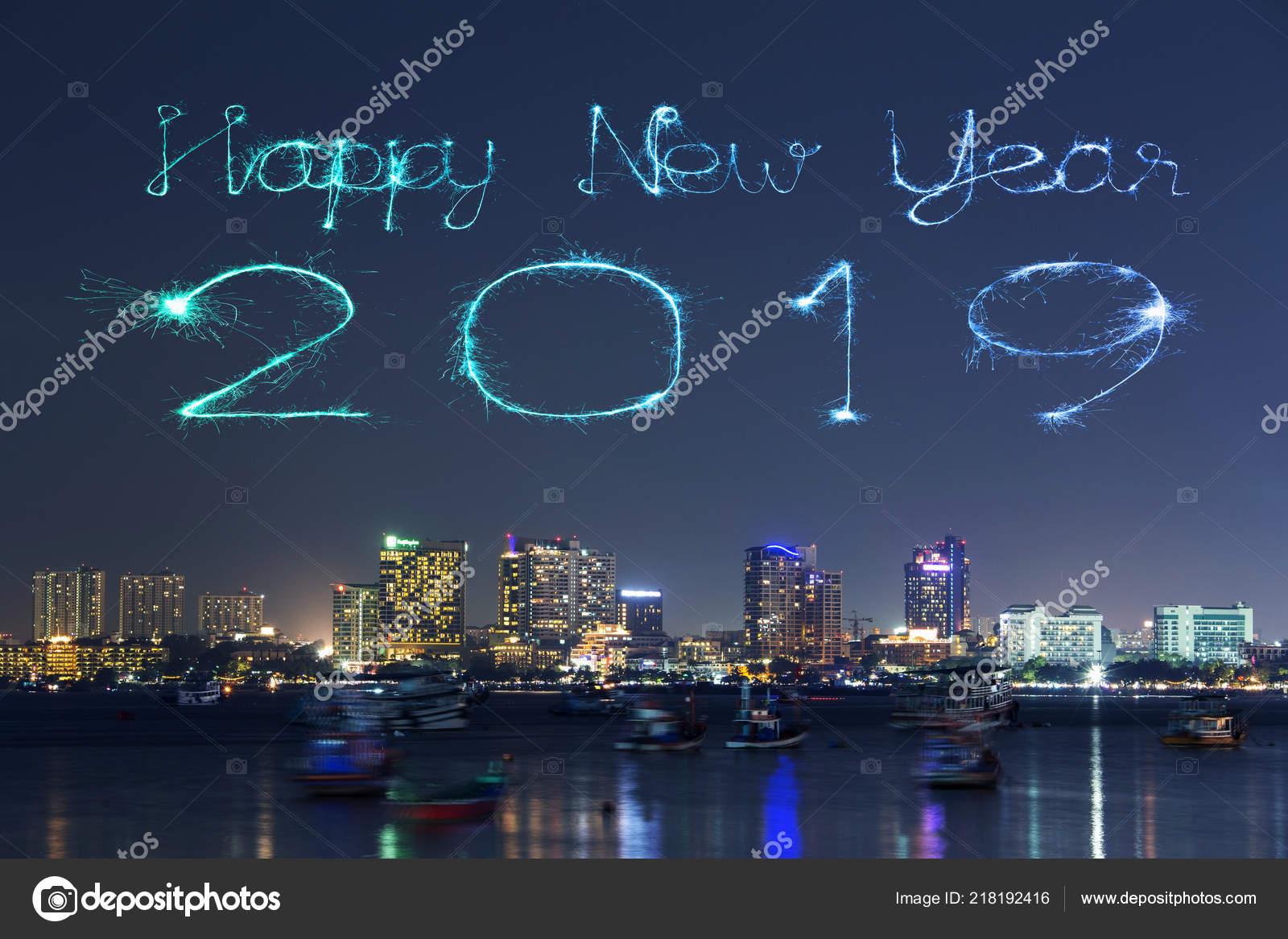 2019 happy new year firework sparkle pattaya cityscape night thailand stock photo