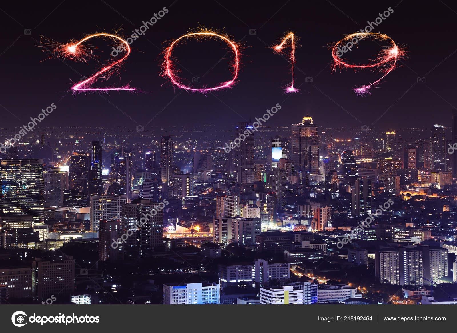 2019 happy new year firework sparkle bangkok cityscape night thailand stock photo