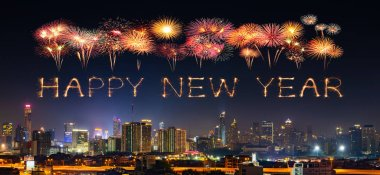 Happy new year firework Sparkle with Bandkok cityscape at night