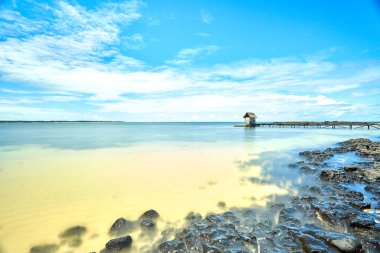 jetty of belle mare beach, mauritius island