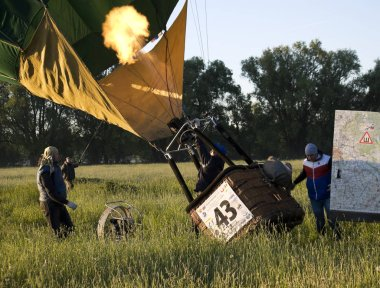 RYAZAN, RUSSIA, MAY, 27, 2018  Balloonists prepare the balloon for flight