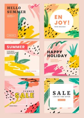 Variety of summer sales banners