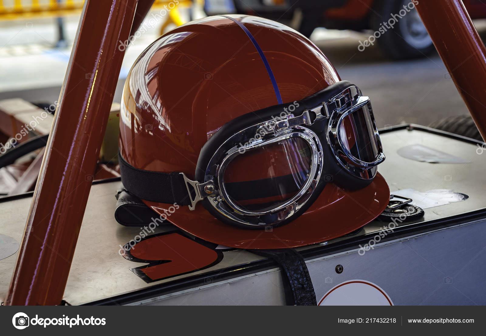 Vintage Racing Helmet Glasses Resting Antique Sports Car Stock Photo Image By C Ba Peuceta 217432218