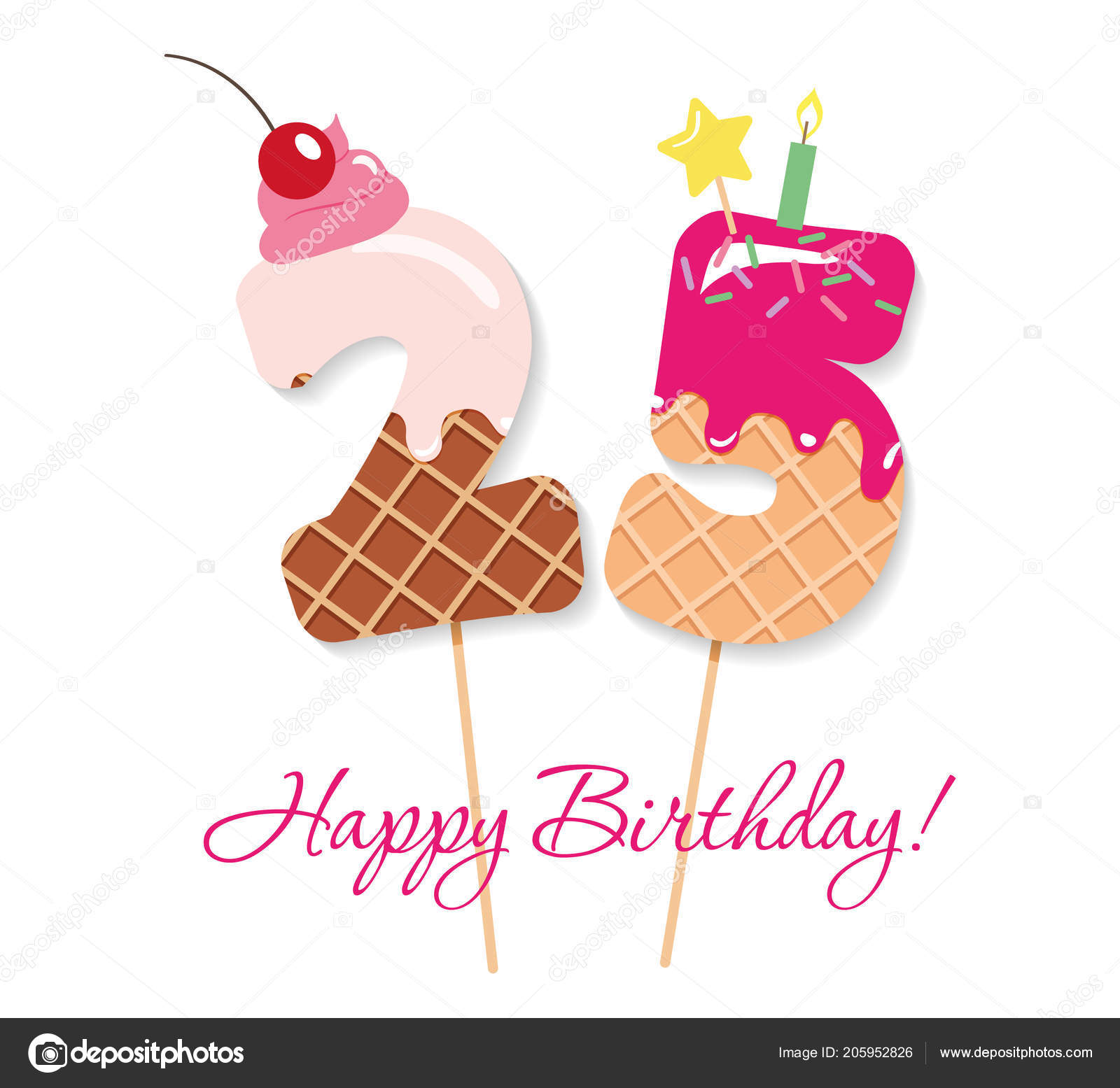 Happy Birthday Card Festive Sweet Numbers 25 Coctail Straws Funny Decorative Characters