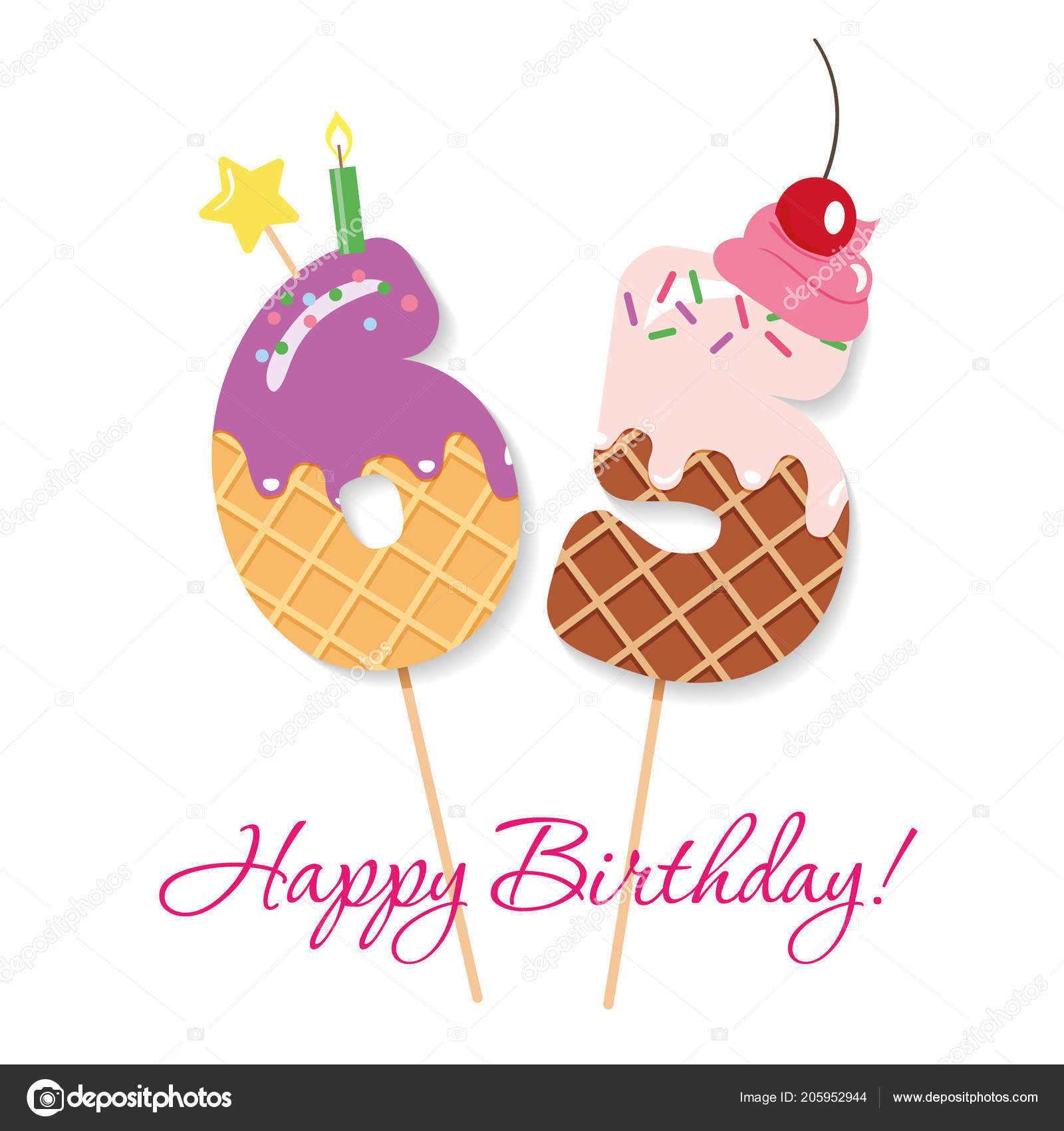 Happy Birthday Card Festliche Susse Zahlen 65 Coctail Strohhalme Lustige Deko Figuren