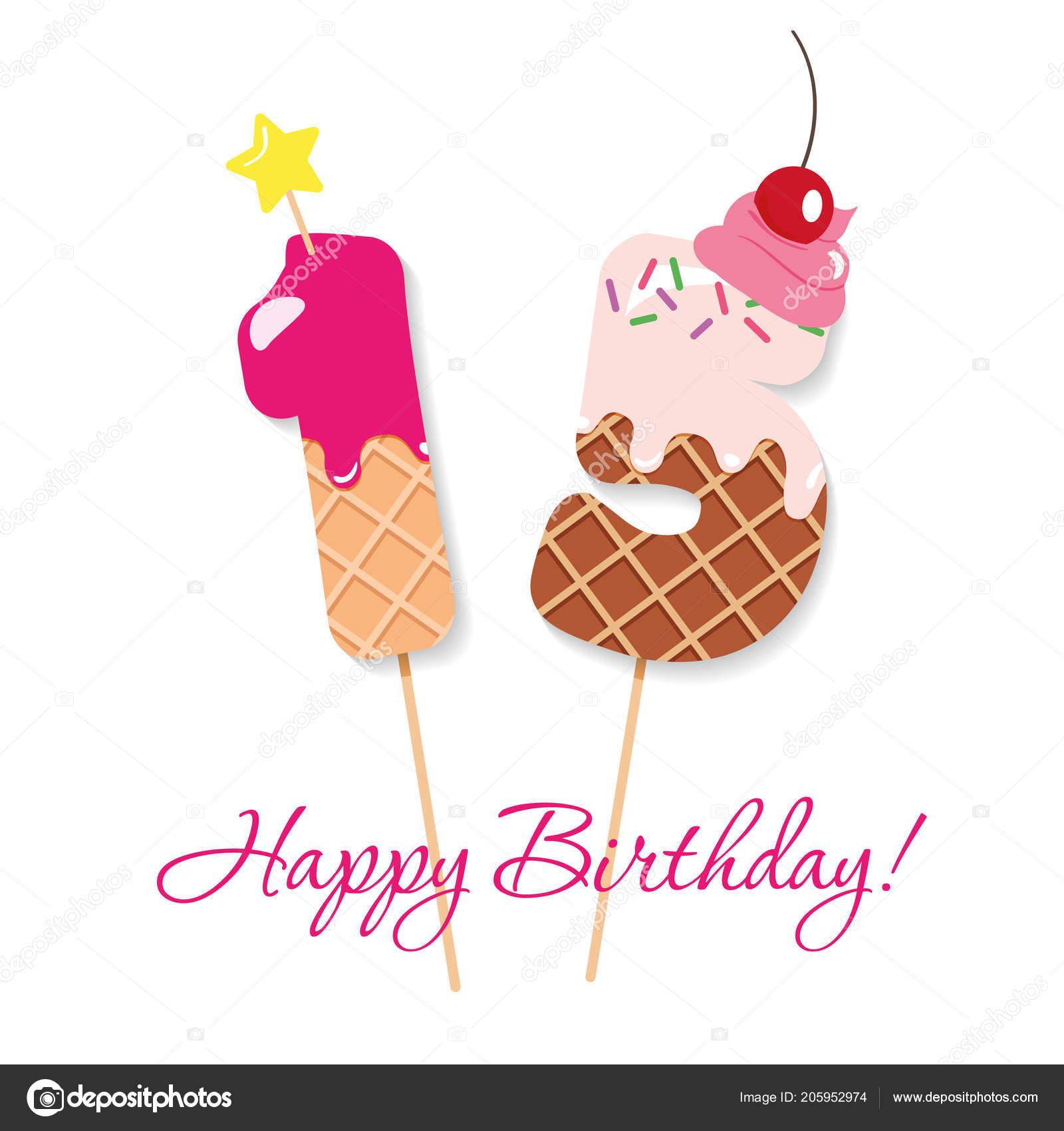 Happy Birthday Card Festliche Susse Zahlen 15 Coctail Strohhalme Lustige Deko Figuren
