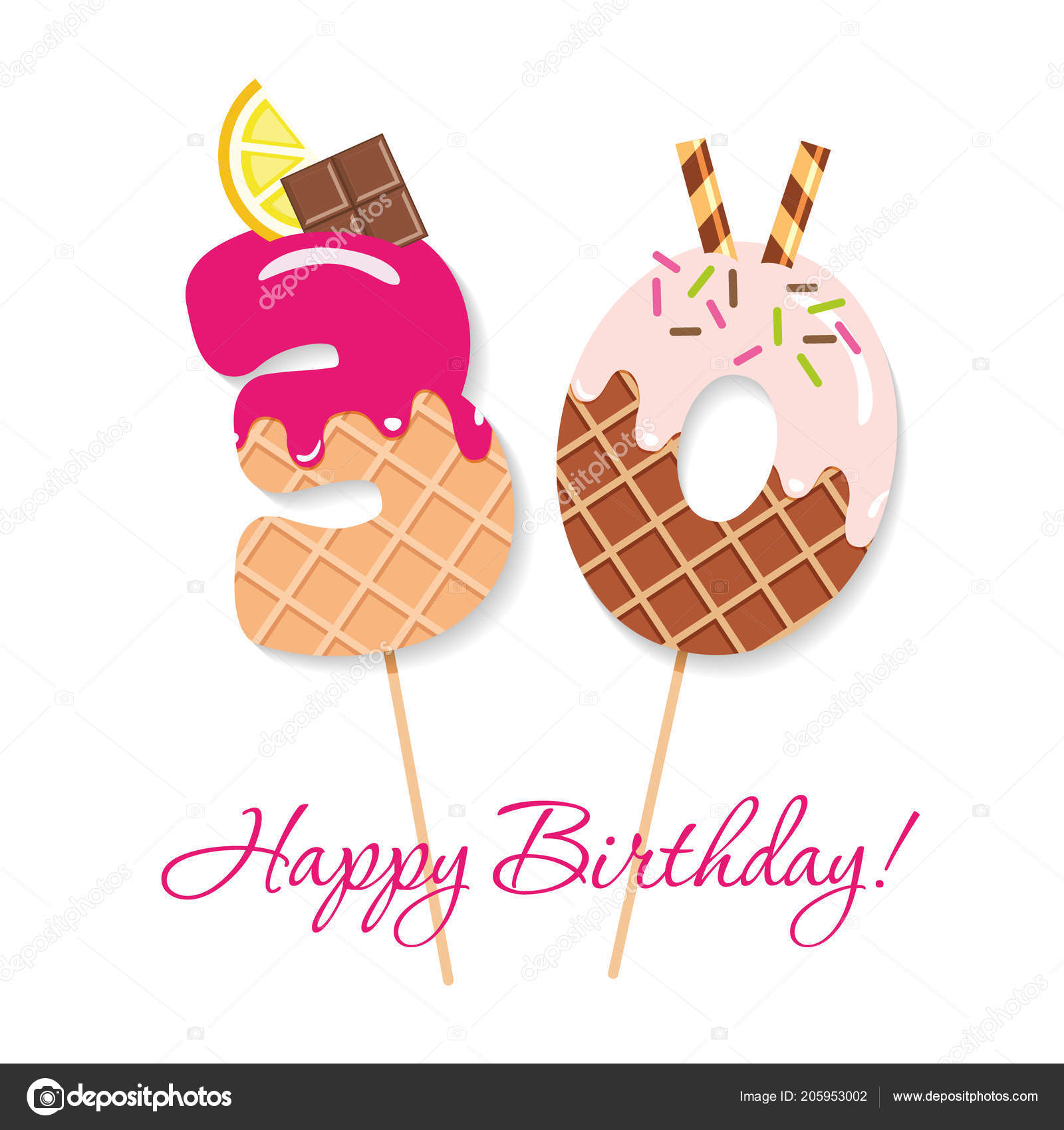 Happy Birthday Card Festive Sweet Numbers 30 Coctail Straws Funny Decorative Characters