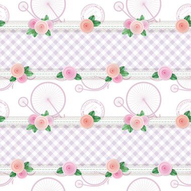 Shabby chic textile pattern background. Girly. Different fabric pieces collage, decorated with lace and roses. Raster copy stock vector