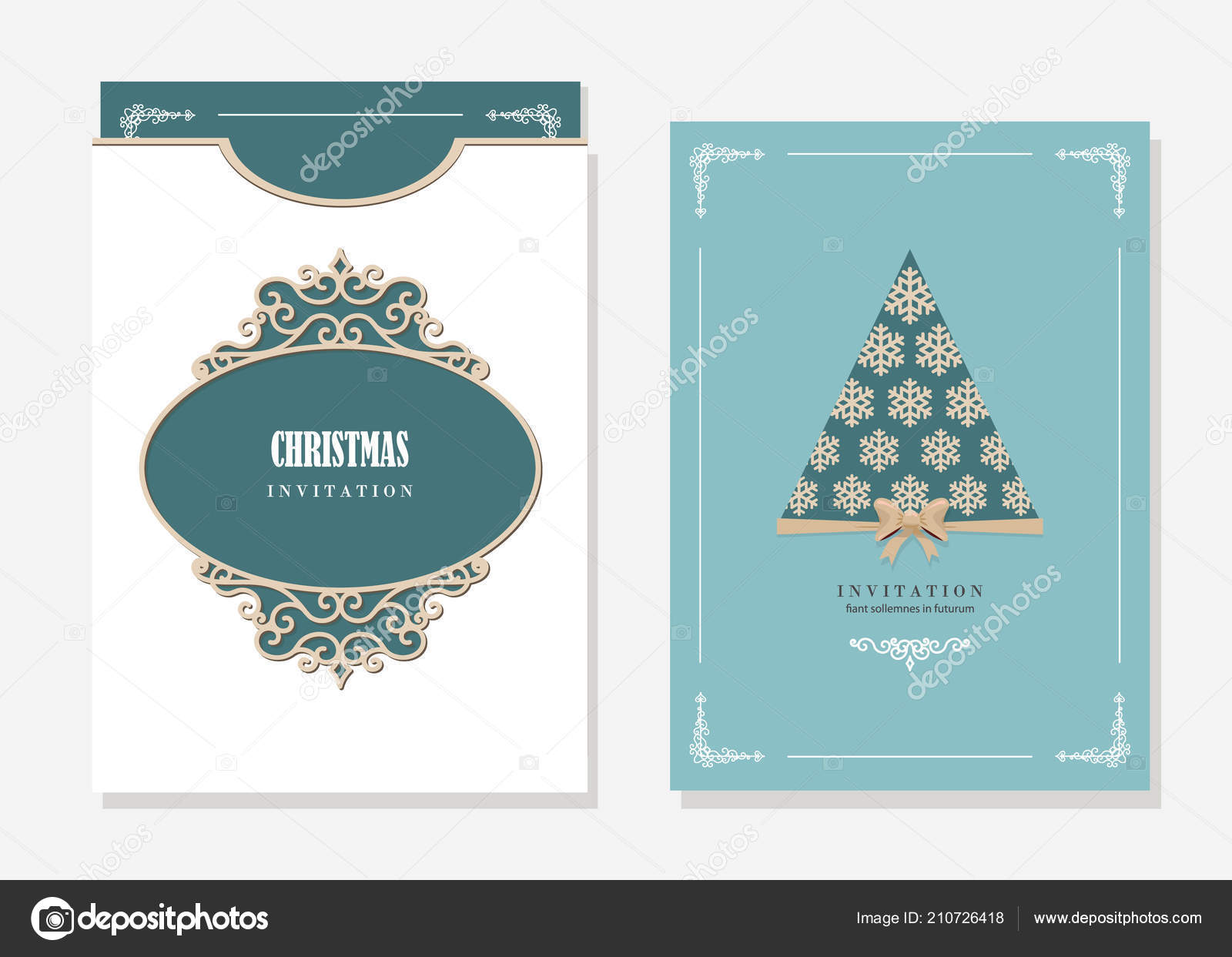 christmas party invitation and envelope template with laser cutting