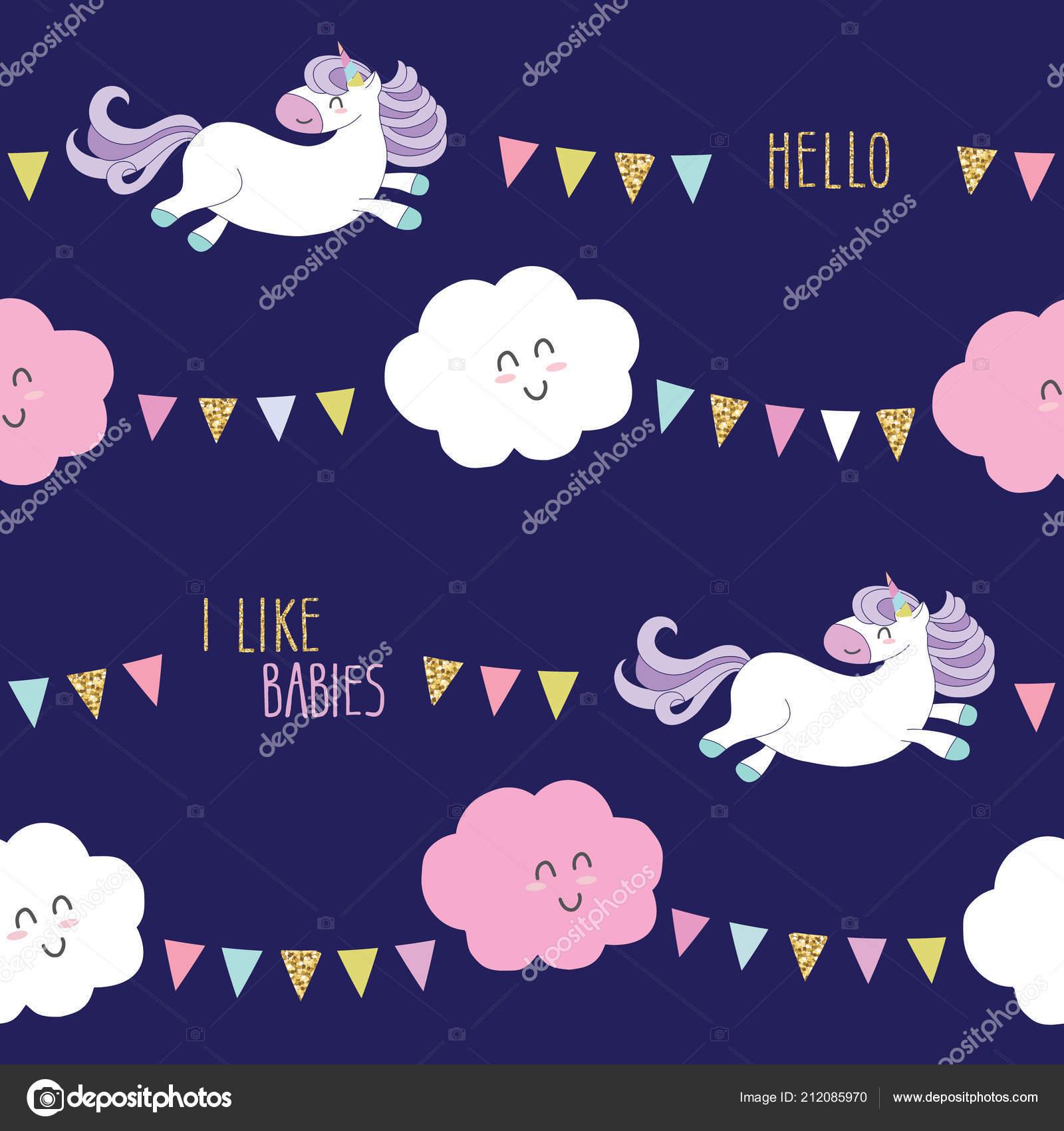110329e3eeed Lindo unicornio sin fisuras de fondo con nubes de kawaii dibujos animados y  guirnaldas. Para niños ropa, pijamas, diseño de ducha del bebé.