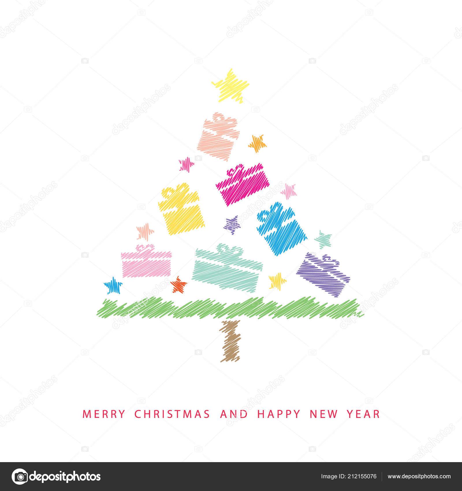 Leuke Kerstkaart Gelukkig Nieuwjaar Kinderen S Tekening Stijl