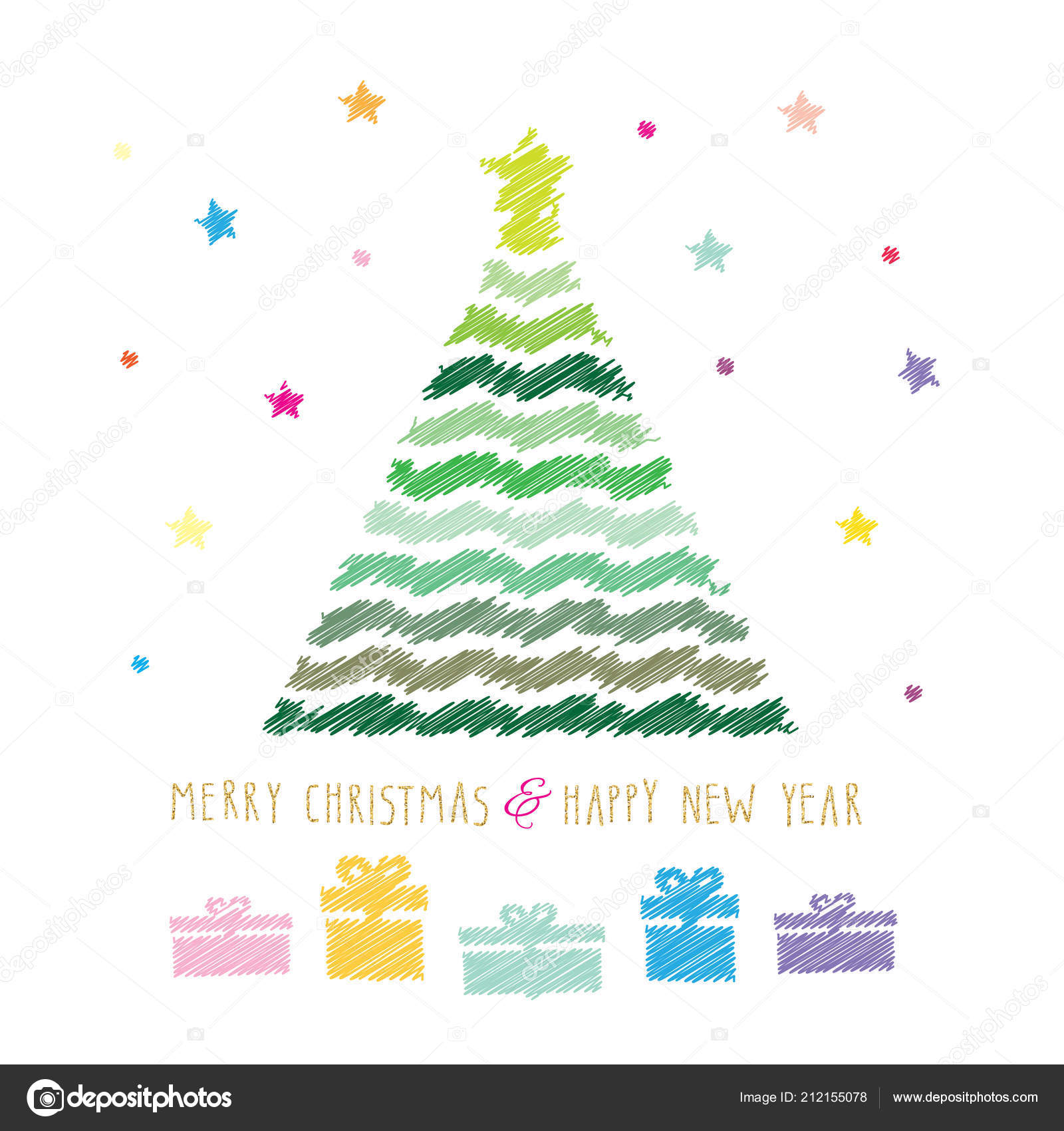 merry christmas and happy new year card colour pencils drawing sketch design