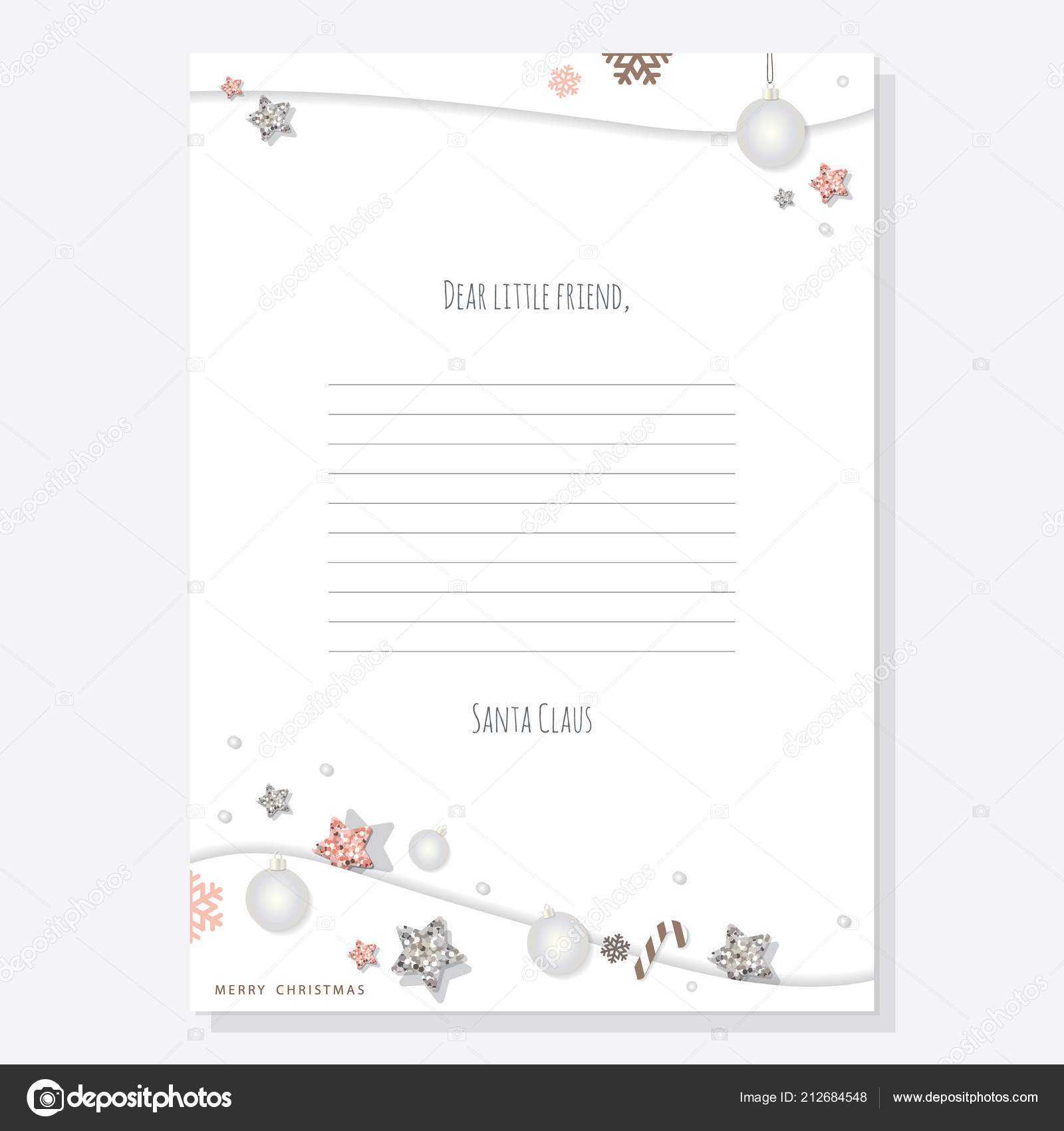 christmas letter santa claus template decorated glitter stars silver