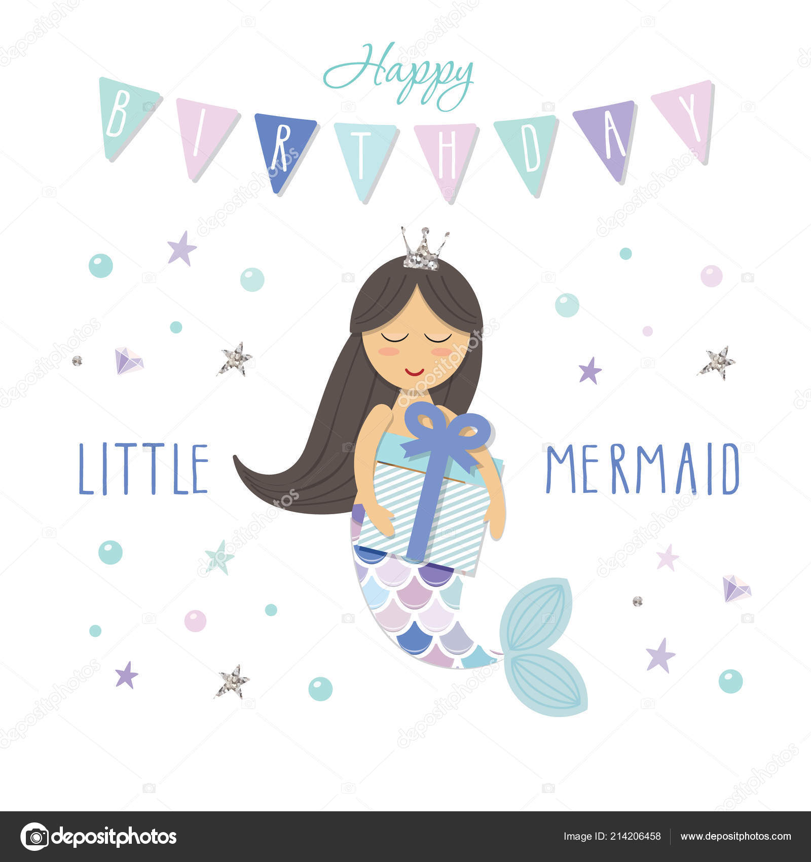 little mermaid birthday card template cute cartoon character vector