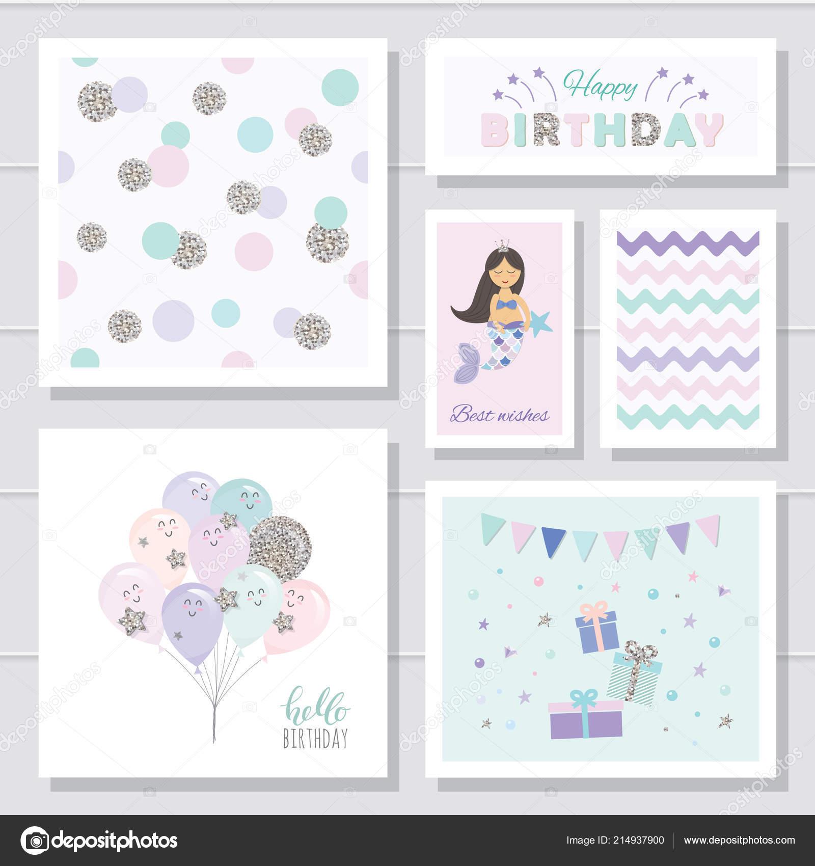 Tarjetas de cumpleaños lindo para las niñas. Con elementos de brillo ...
