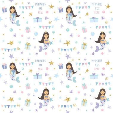 Mermaid birthday pattern background. Cute cartoon characters. Raster illustration