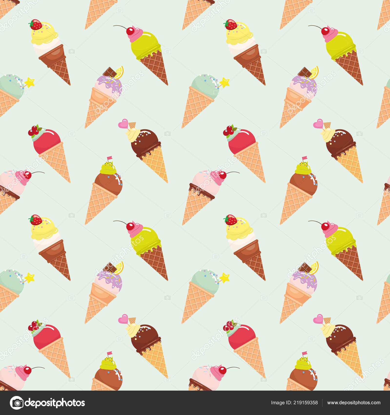 Ice Cream Cone Pattern Background Realistic Bright Pastel Colors