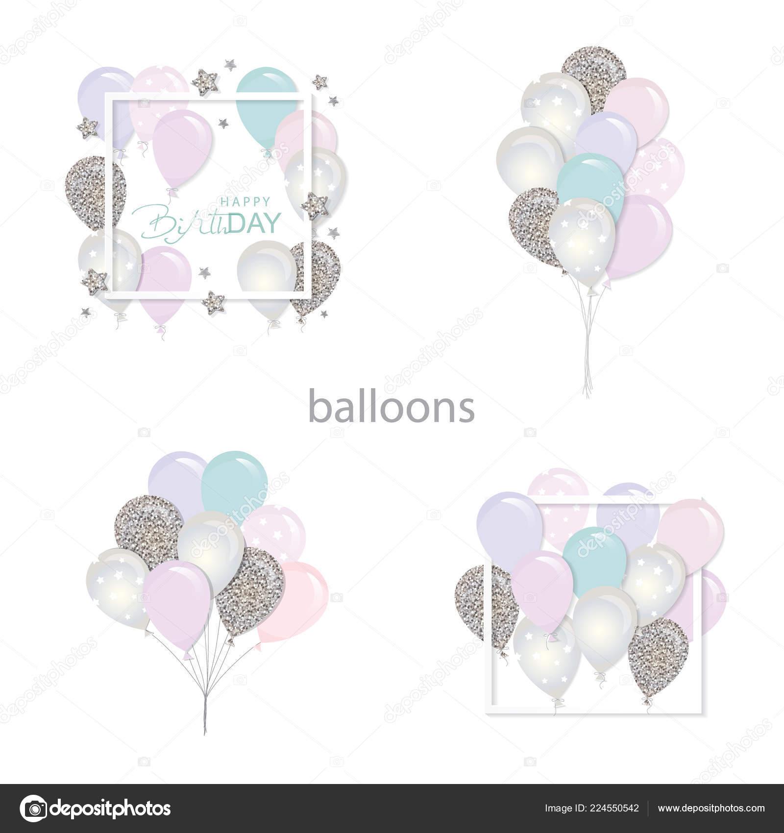 Luftballons Set Mit Glitzer Vorlagen Für Geburtstag Und Feiertage