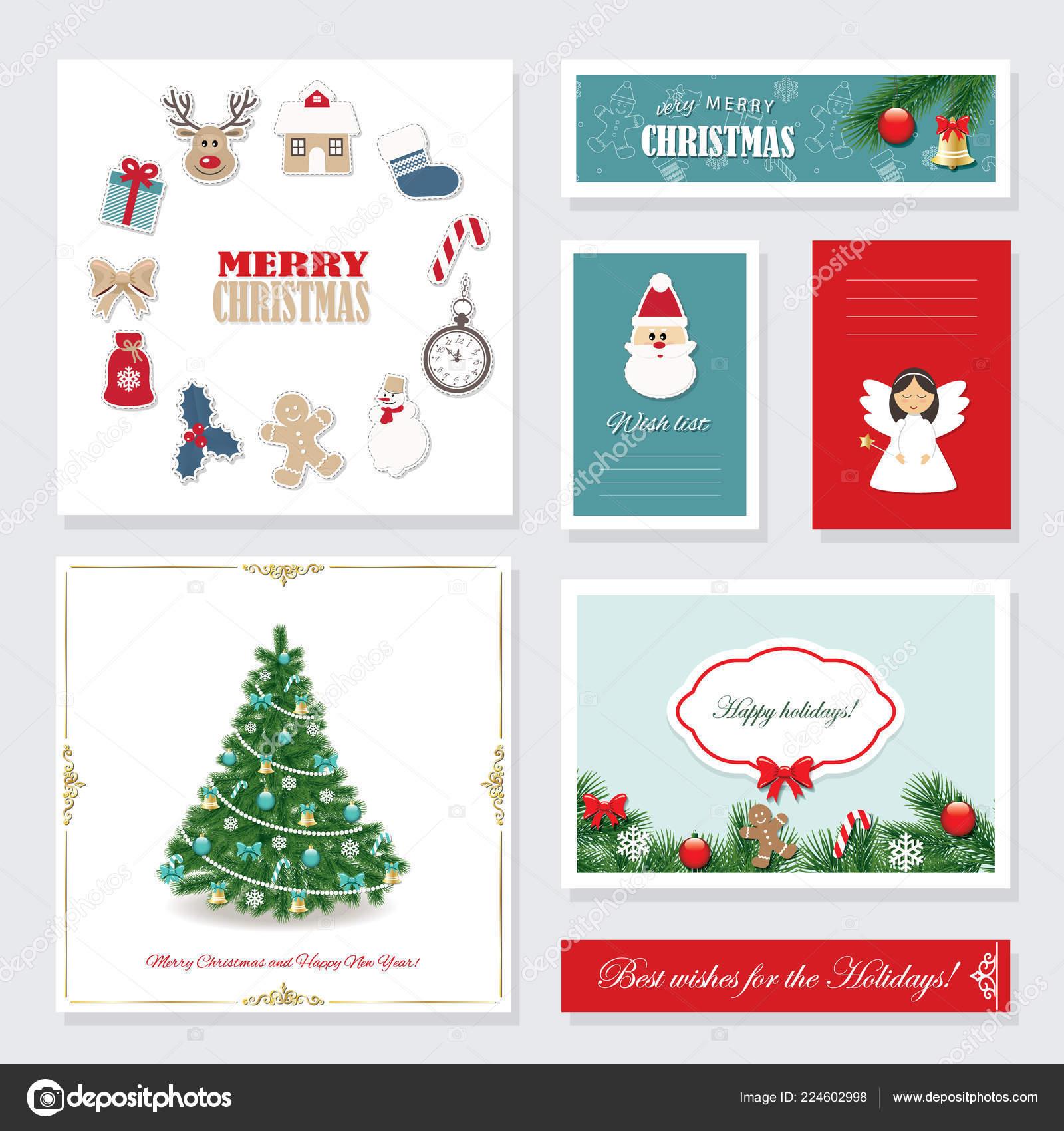Biglietti Di Natale Modelli.Modelli Natale Impostati Biglietti Auguri Banner Wish List Etichette
