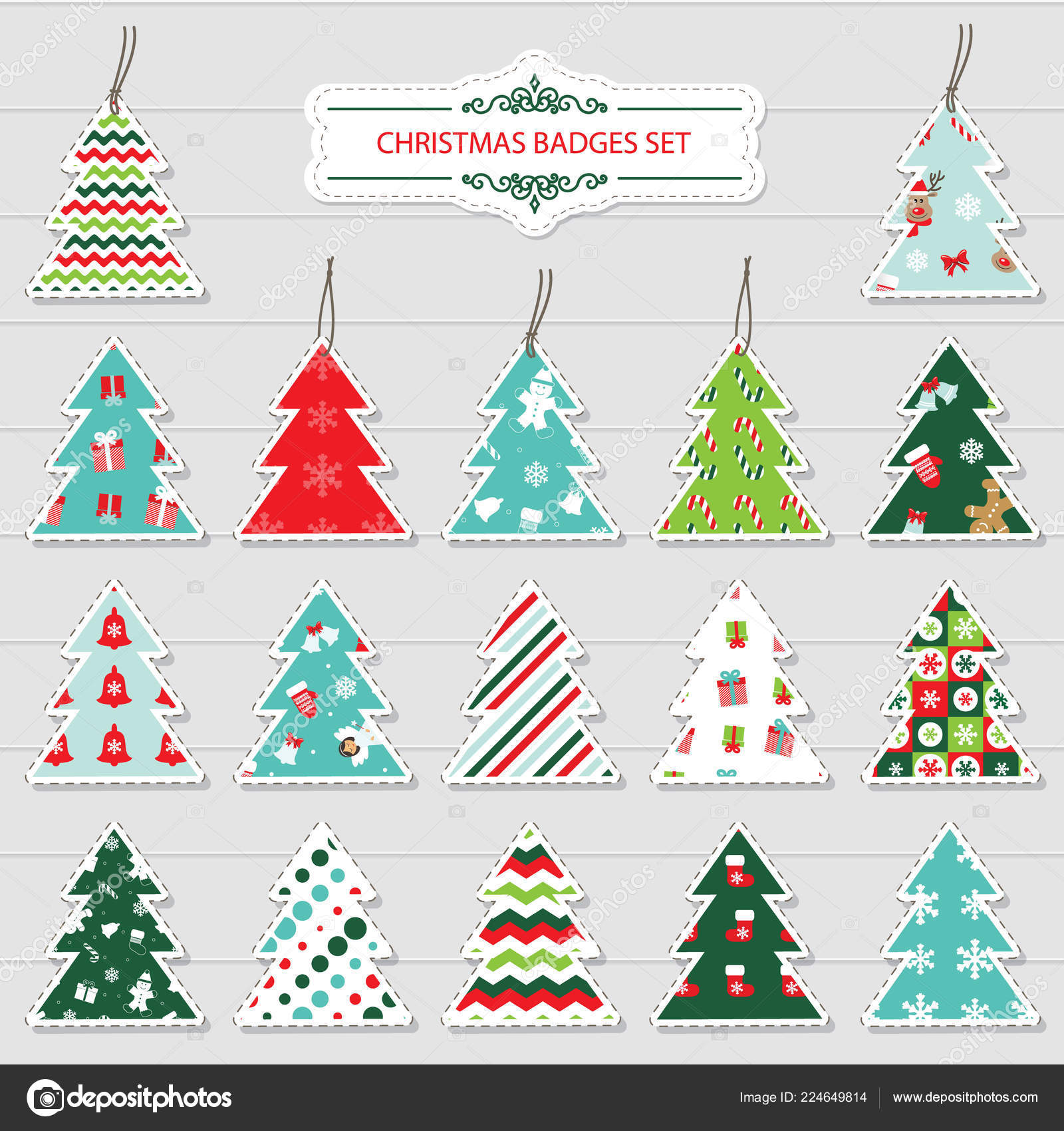 christmas and new year labels and stickers in the shape of a christmas tree different festive patterns are full under clipping mack