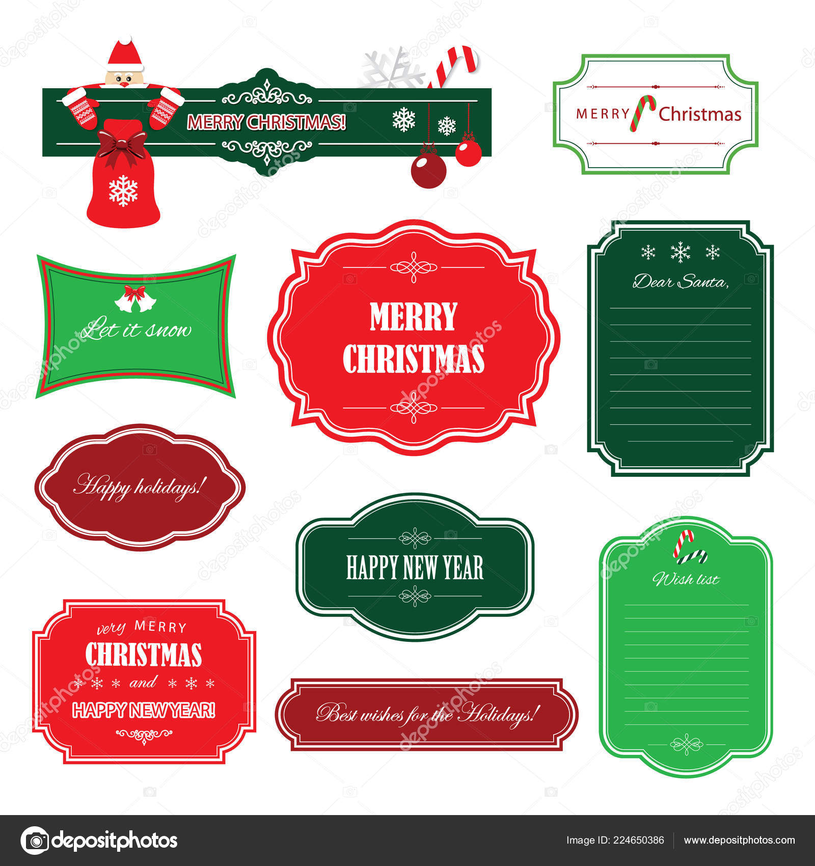 christmas and happy new year frames and banners wish list template decorative labels and badges isolated on white vector by cutelittlethings