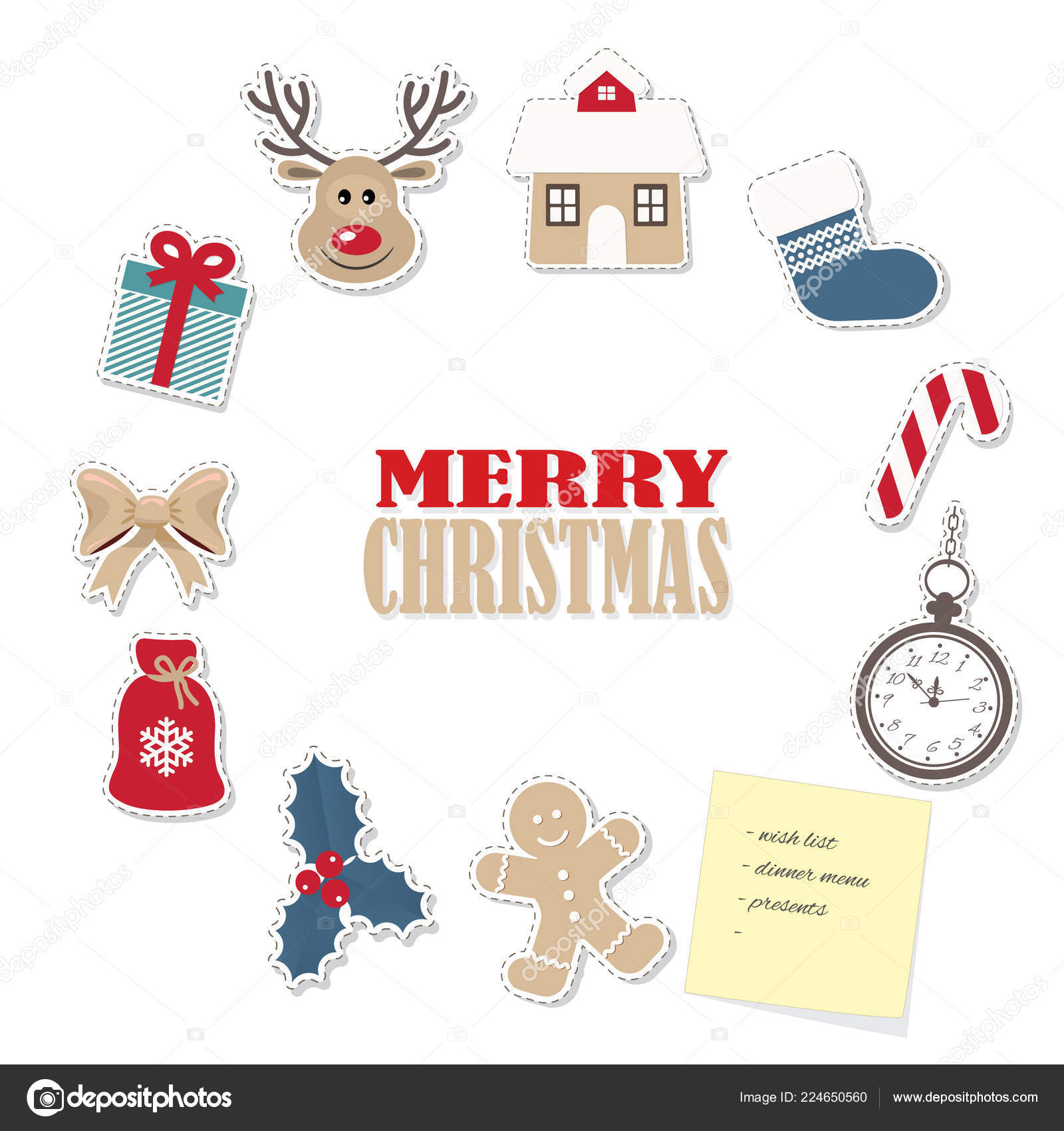 Christmas Frame Template Different Paper Cutout Stickers Gingerbread