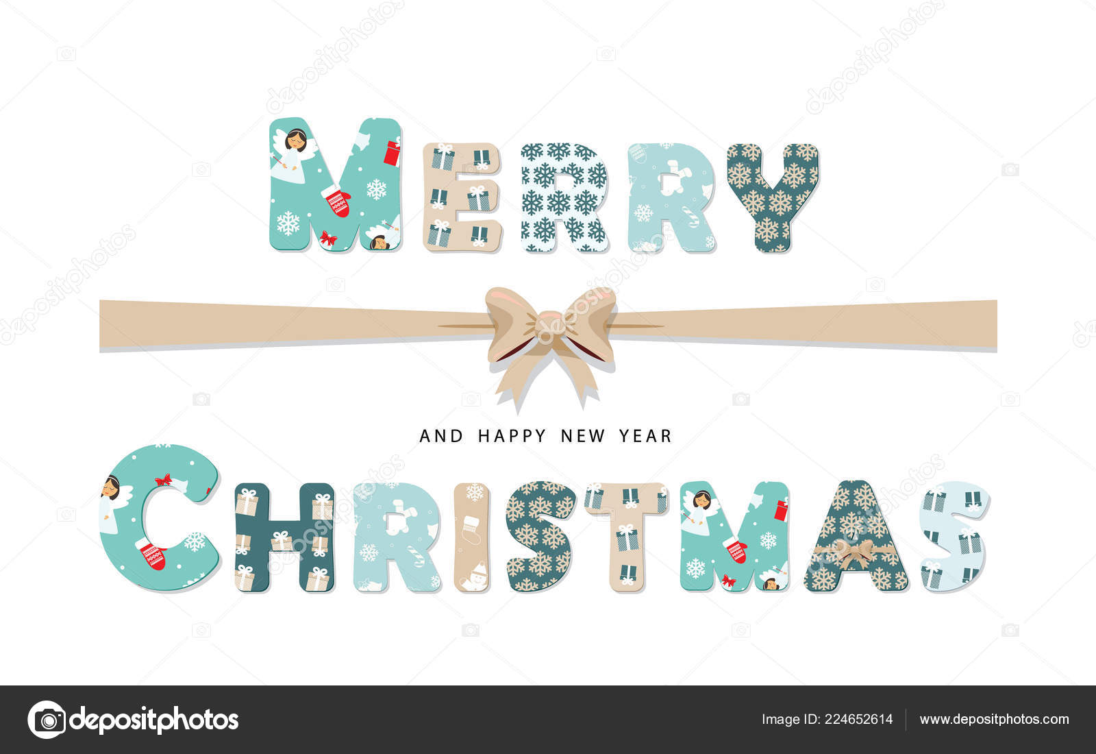 Christmas Cutout Patterns.Merry Christmas Lettering Paper Cutout Letters Different