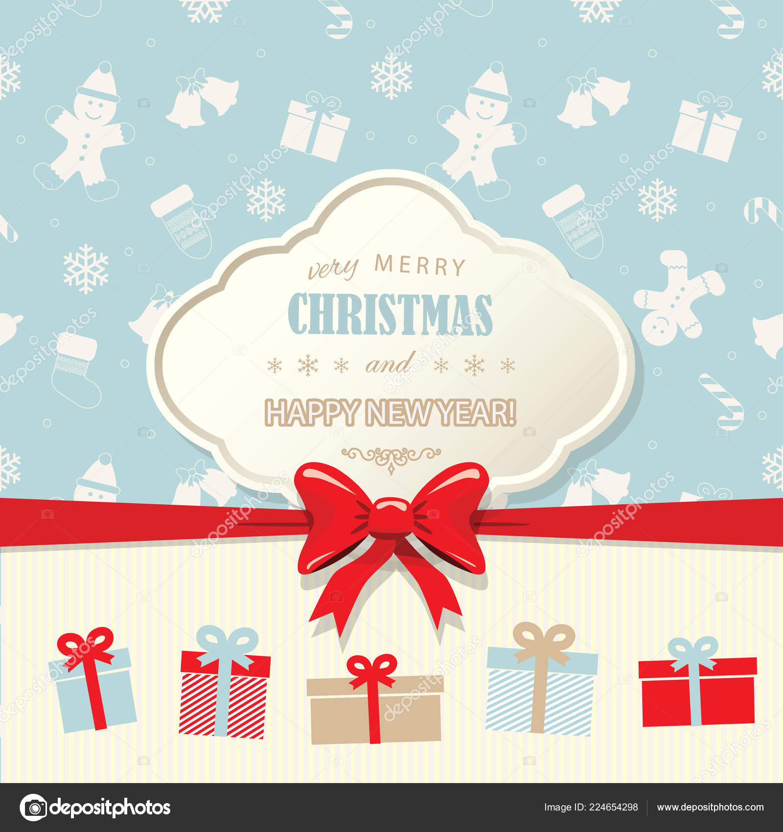 christmas and happy new year greeting card template vector by cutelittlethings