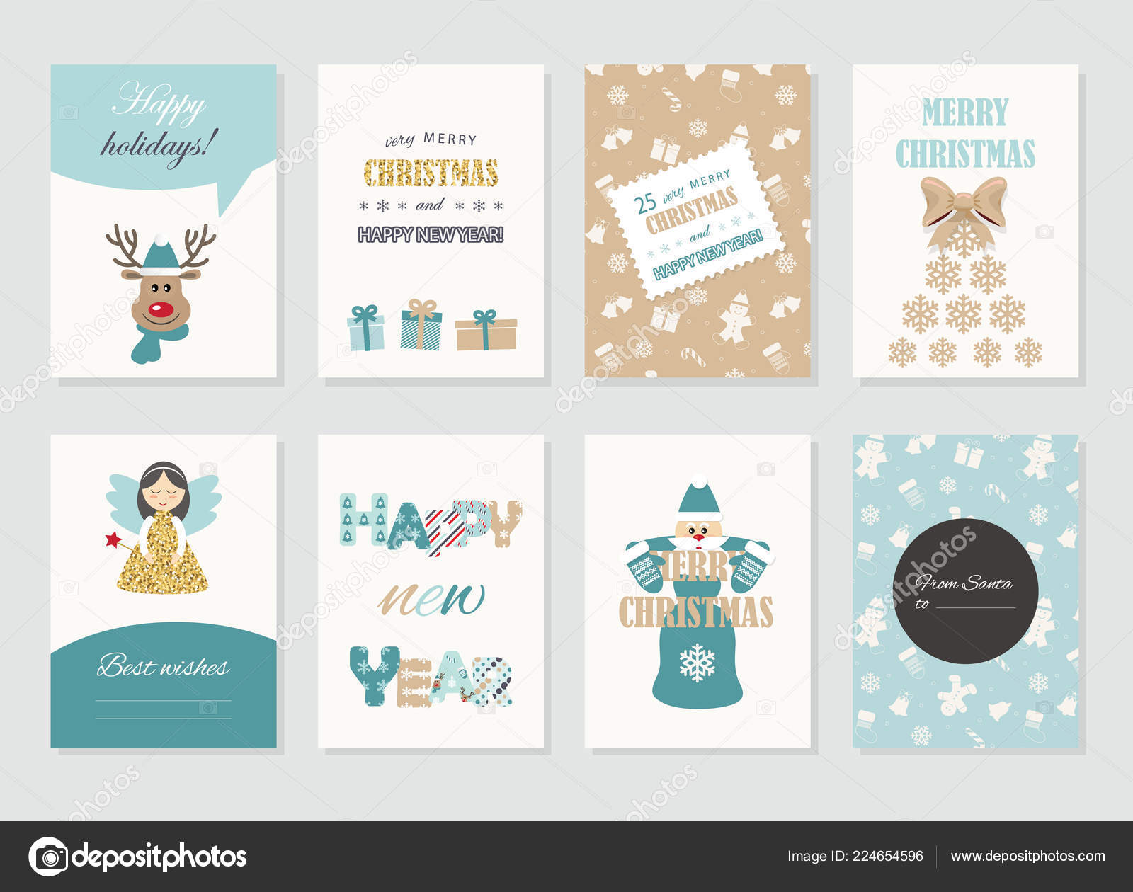 cute christmas and new year card templates set with glitter for print and web vector by cutelittlethings