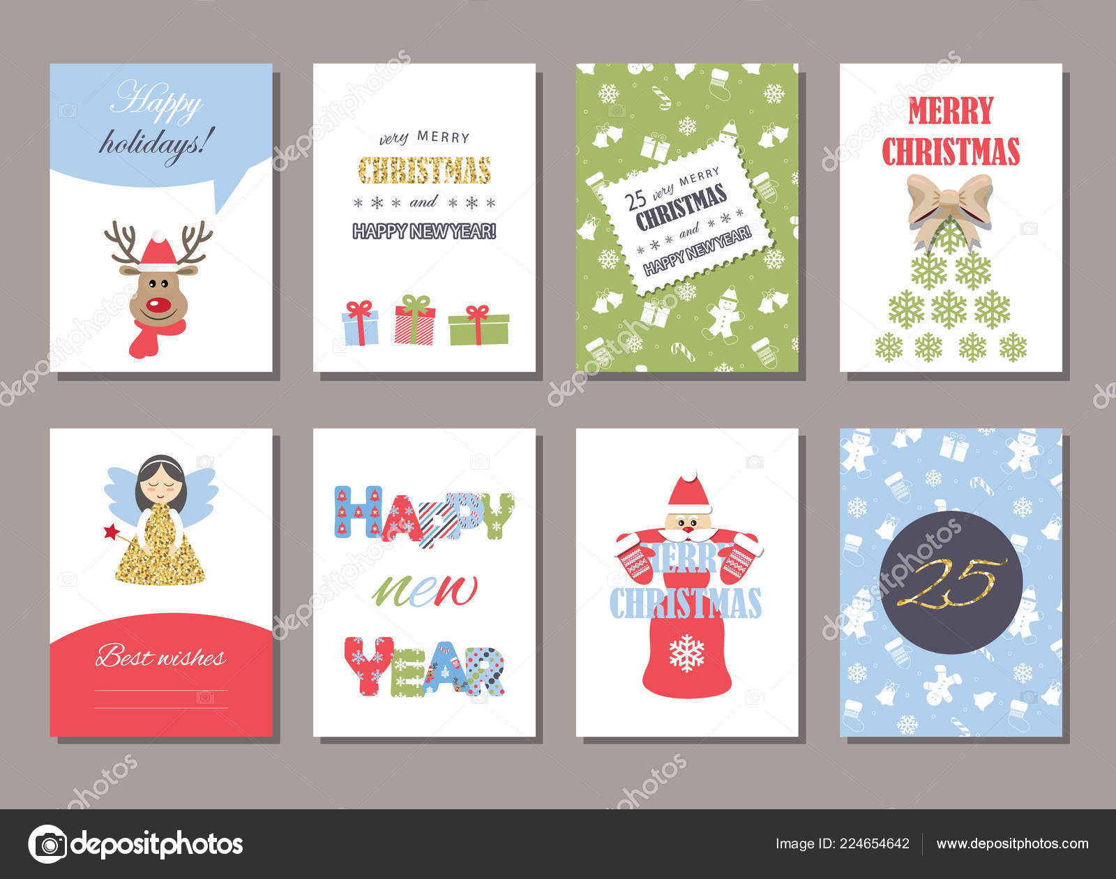 cute christmas and new year card templates set with glitter vector vector by cutelittlethings