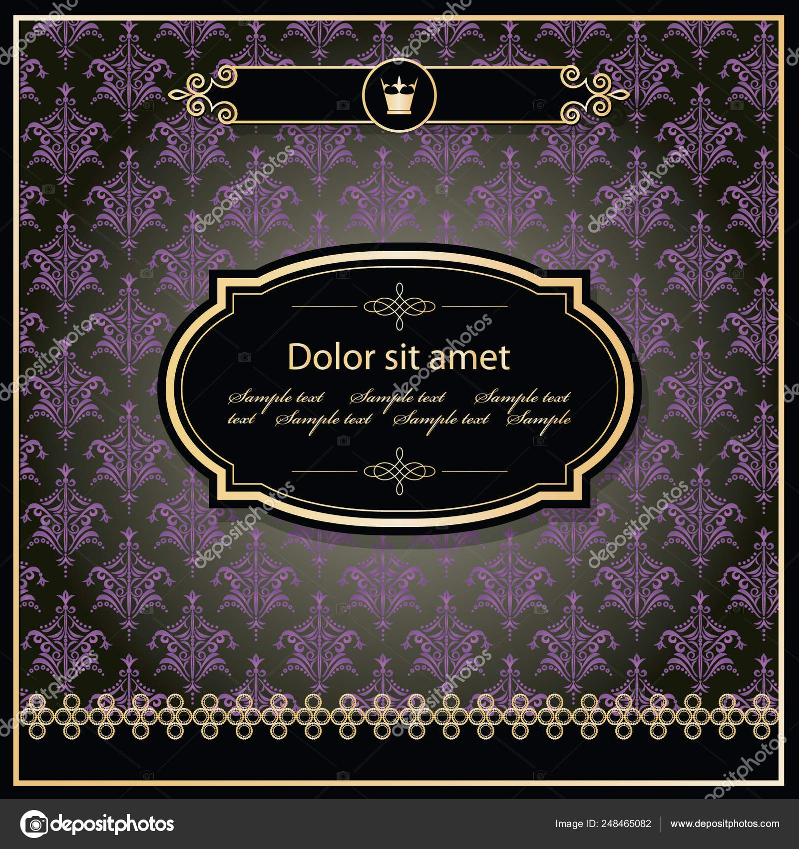 2bc5d84469cb Vintage golden frame template on damask background. Vector — Stock Vector
