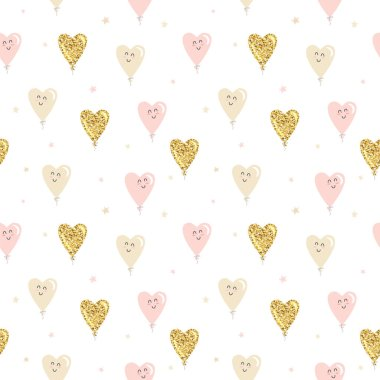 Kawaii heart balloons seamless pattern background. Gold glitter, pastel pink and beige colors. For Valentines day, birthday, baby shower, holidays design. Raster illustration stock vector