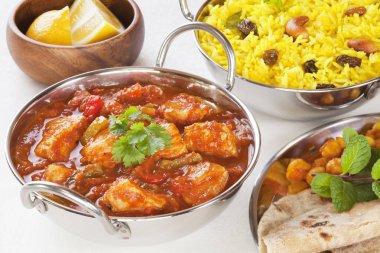 Chicken Jalfrezi Curry and Yellow Rice Pillau