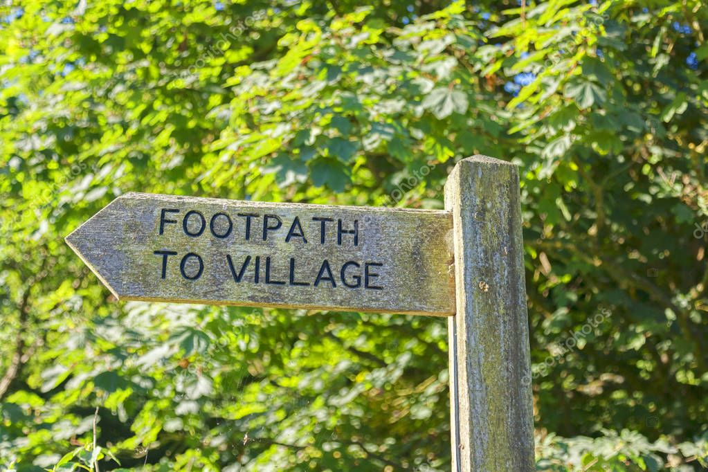 Signpost with Footpath to Village