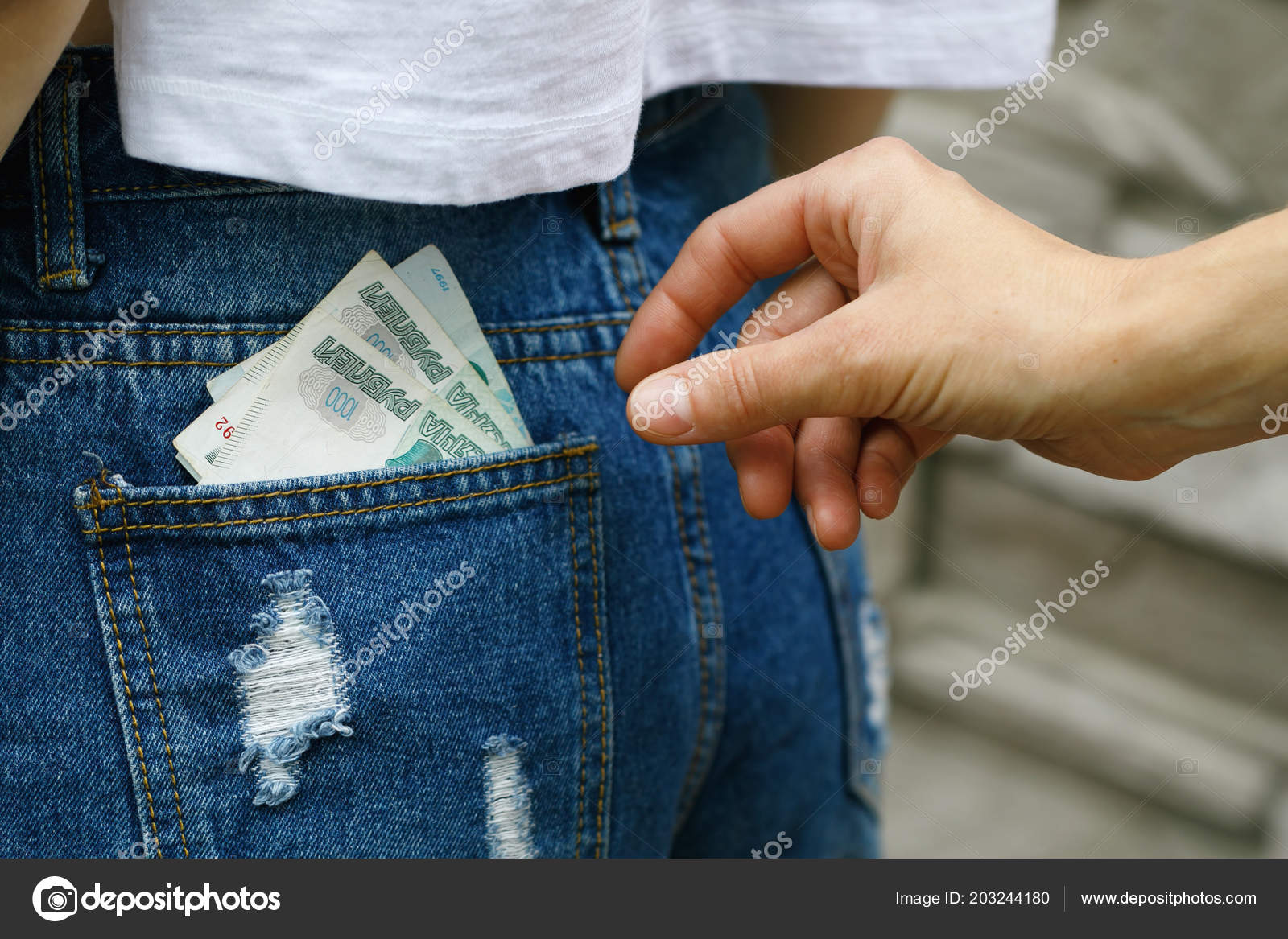 Committing Crime Street Stealing Money Back Your Jeans
