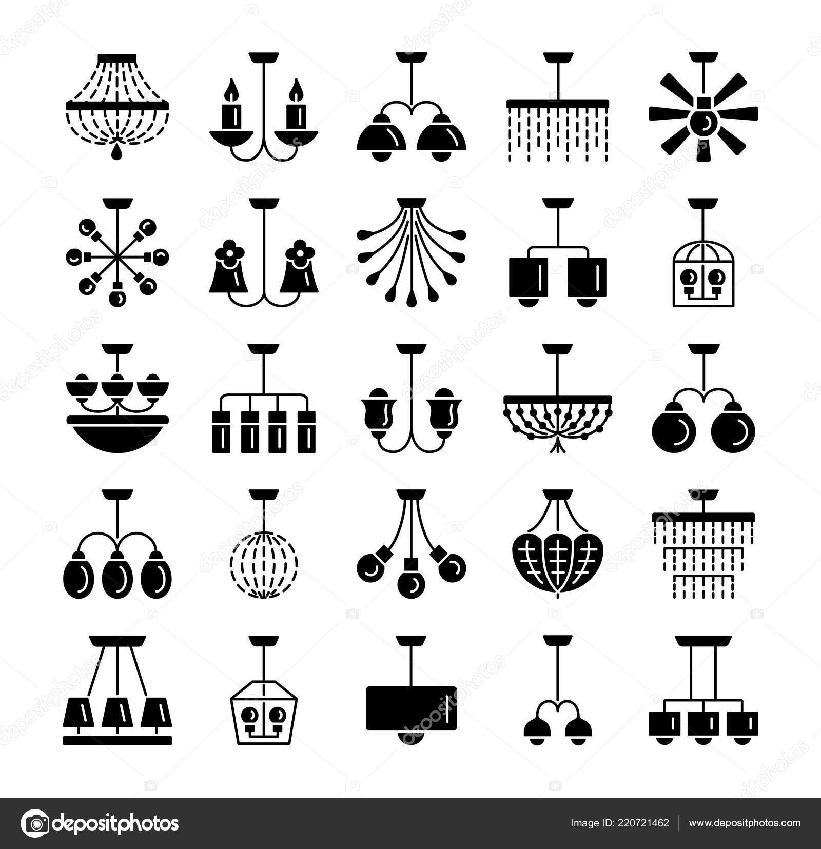 Modern vintage ceiling lamps set hanging light fixtures different types stock vector