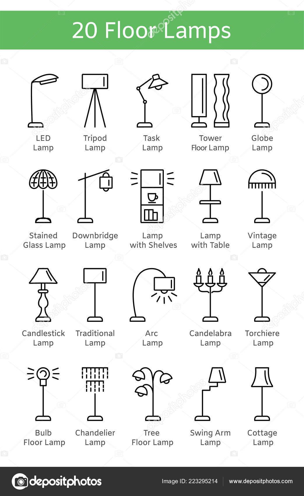 Picture of: Modern Vintage Floor Lamps Set Standing Light Fixtures Home Office Stock Vector C Milta 223295214