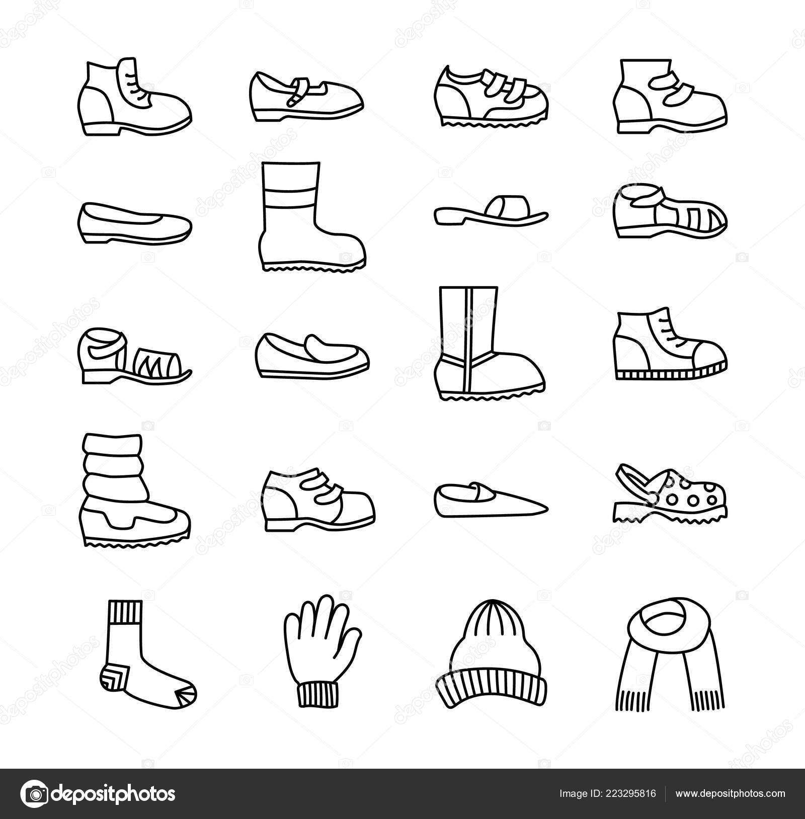 02e852acfed7f stock illustration. Children Shoes Accessories Vector Line Icon Set Various  Styles Kid — Stock Vector