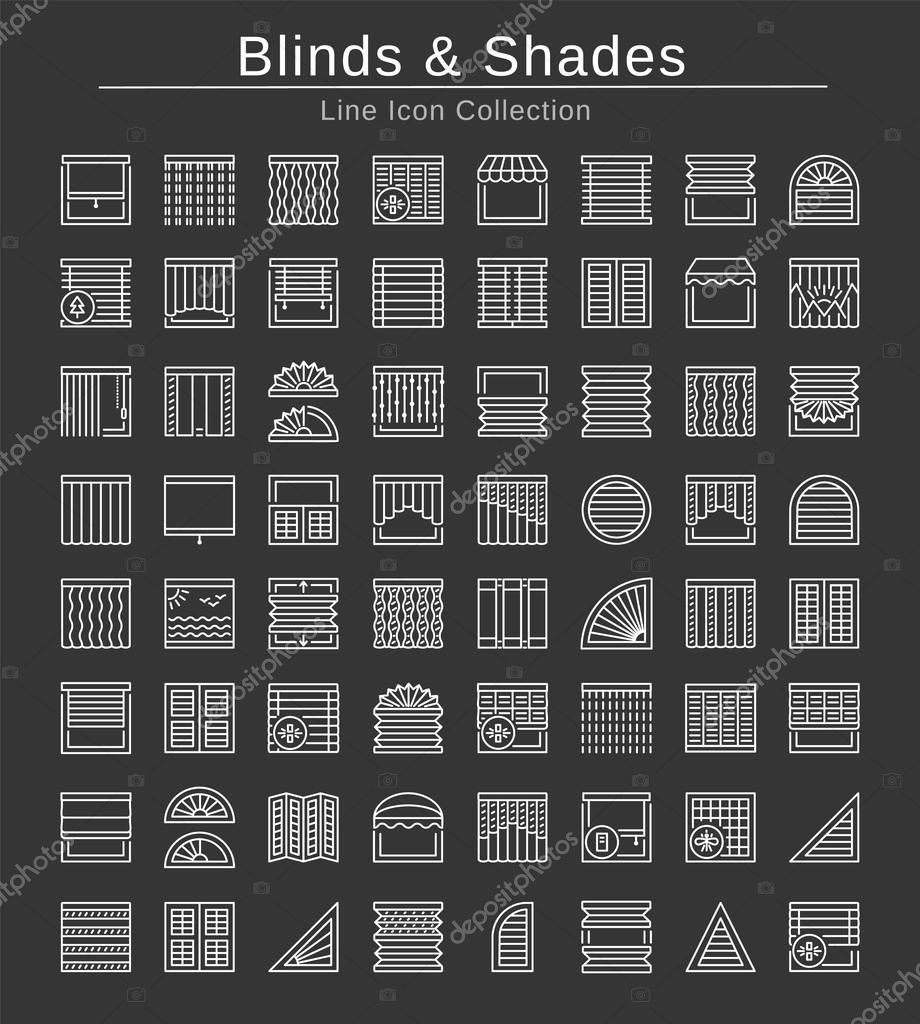 Blinds Shades Sun Protection Room Darkening Light Blocking Jalousies Interior Shutters Panel Curtains Home Decor Elements Window Coverings White Line Icons On Black Background Premium Vector In Adobe