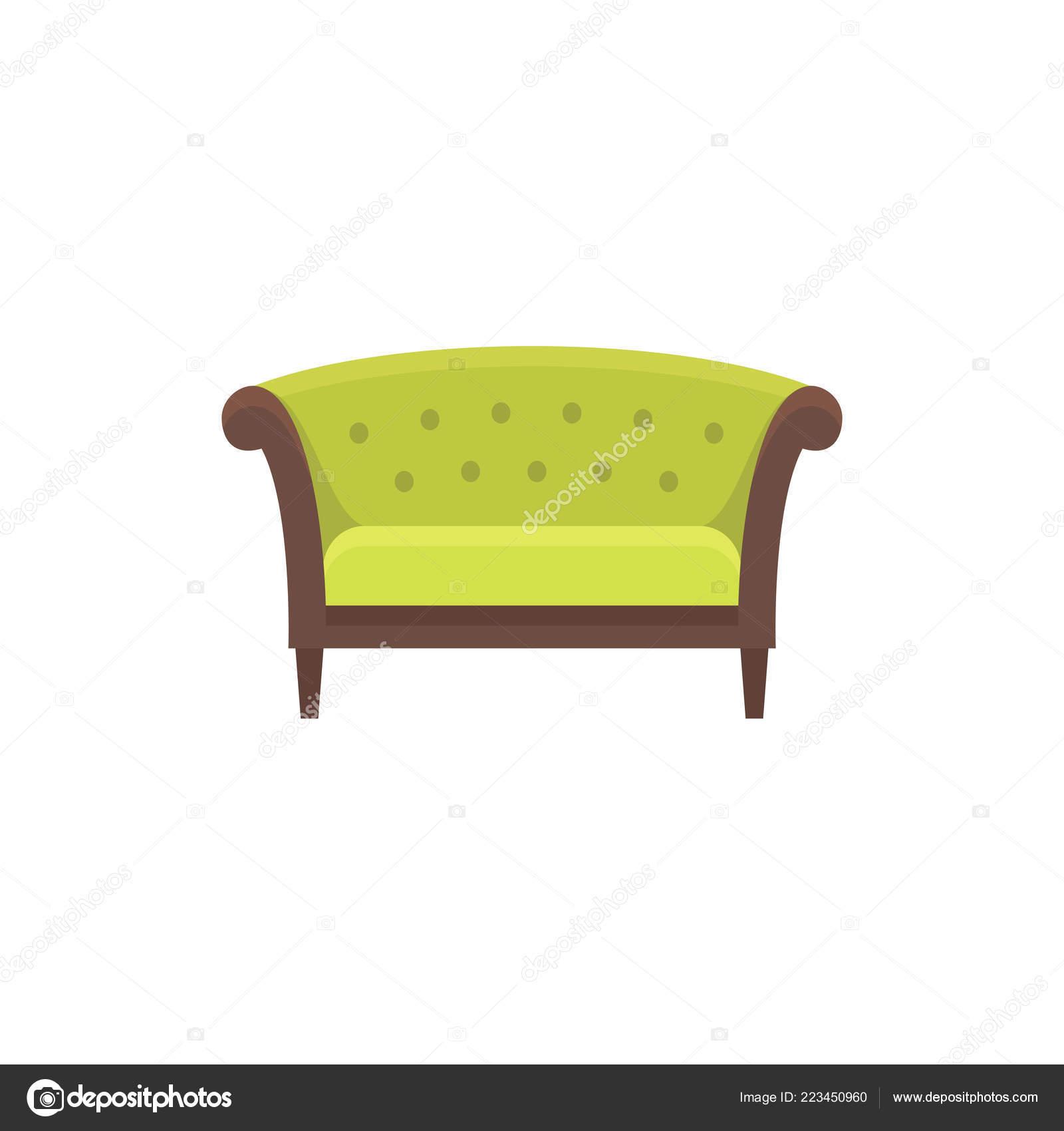 Green Chesterfield Sofa Sofa Vector Illustration Flat Icon Settee