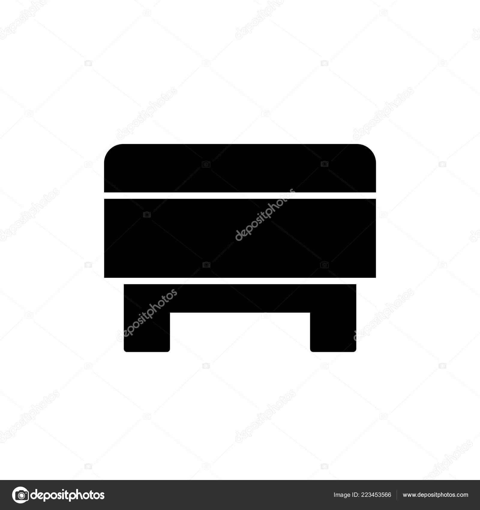 Pleasing Black White Vector Illustration Square Storage Ottoman Pouf Evergreenethics Interior Chair Design Evergreenethicsorg