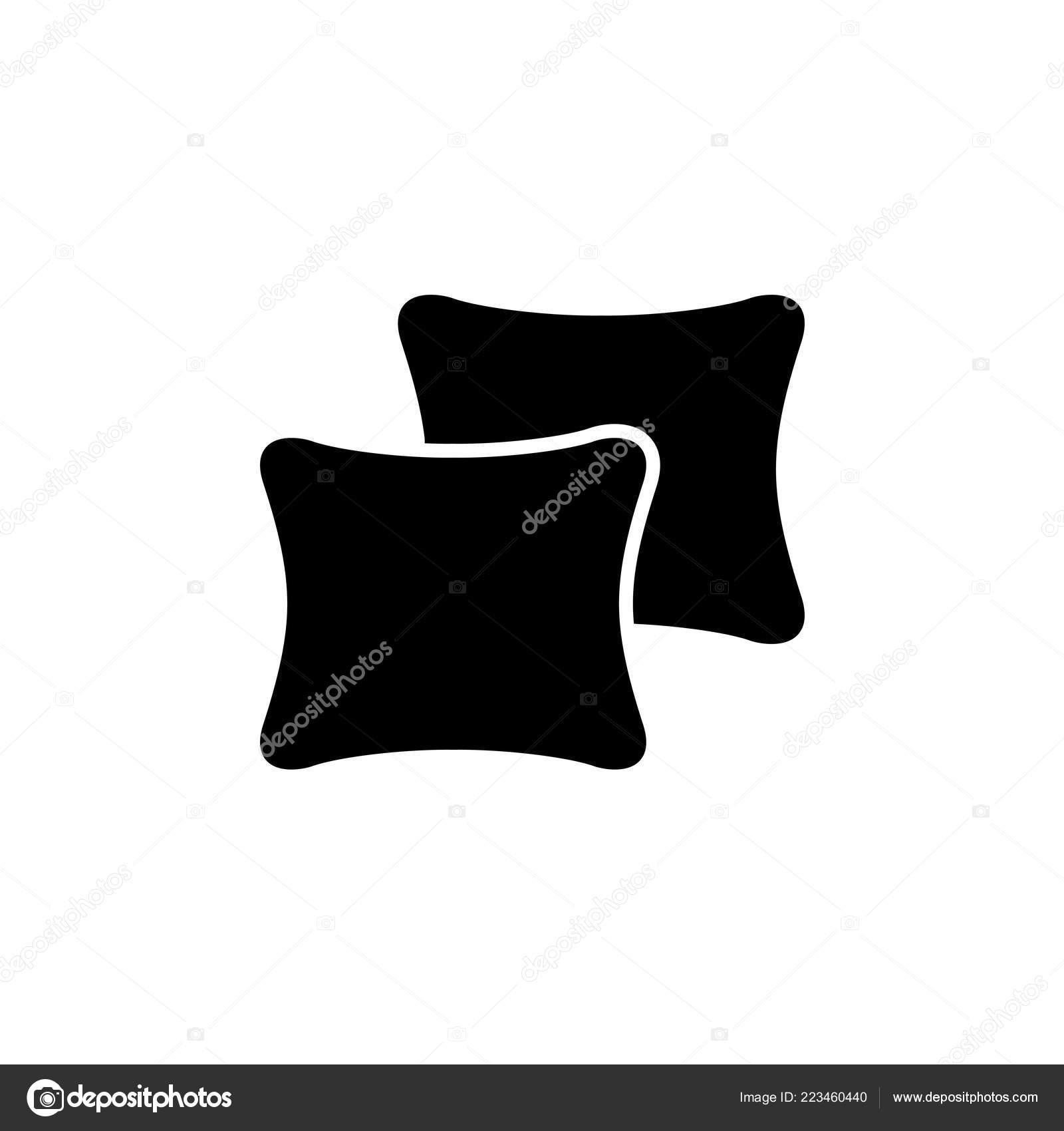 Black White Vector Illustration Square Throw Pillows Flat