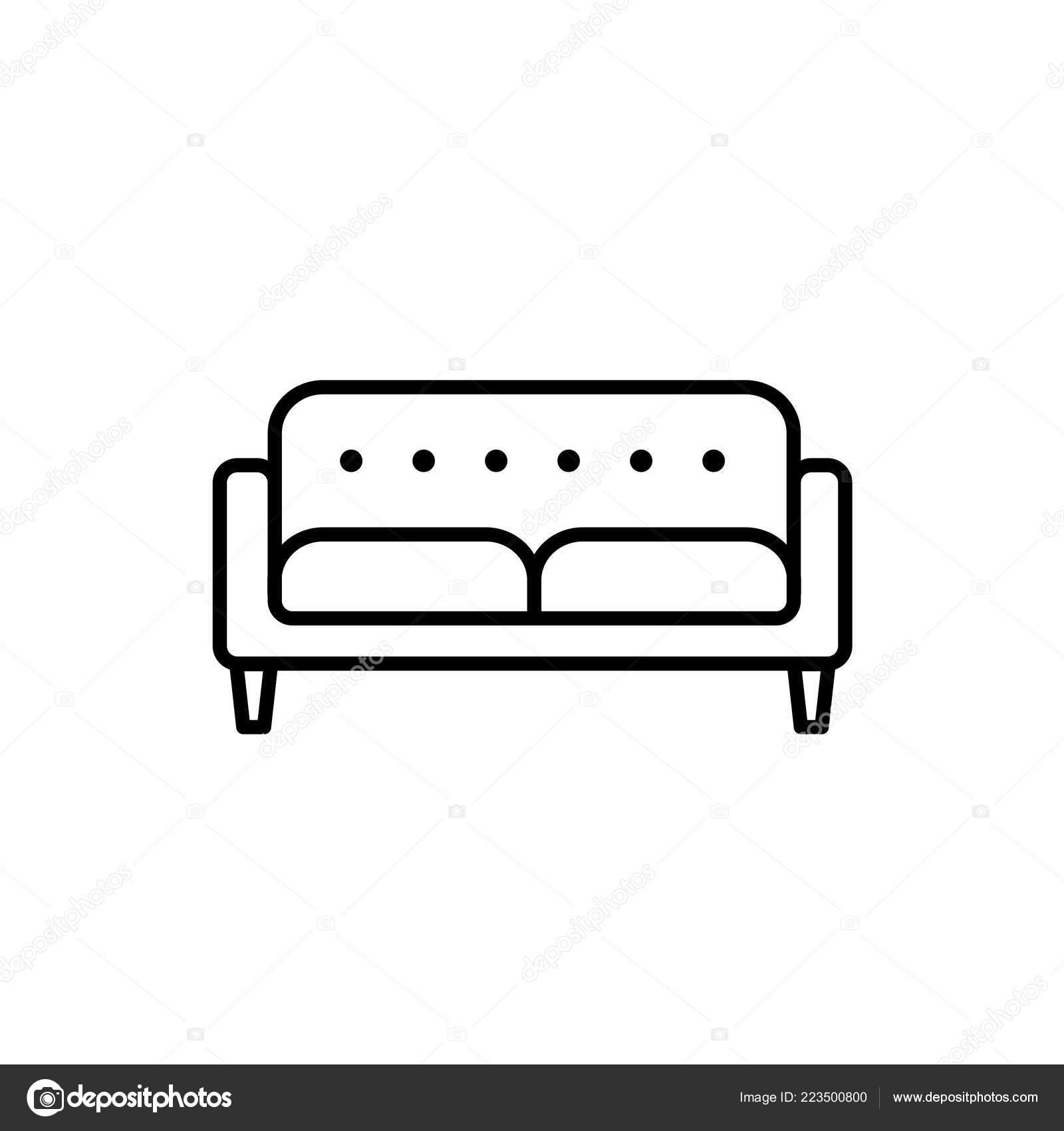 Casa Del Divano Letto.Illustrazione Vettoriale Bianco Nero Loveseat Divano Letto