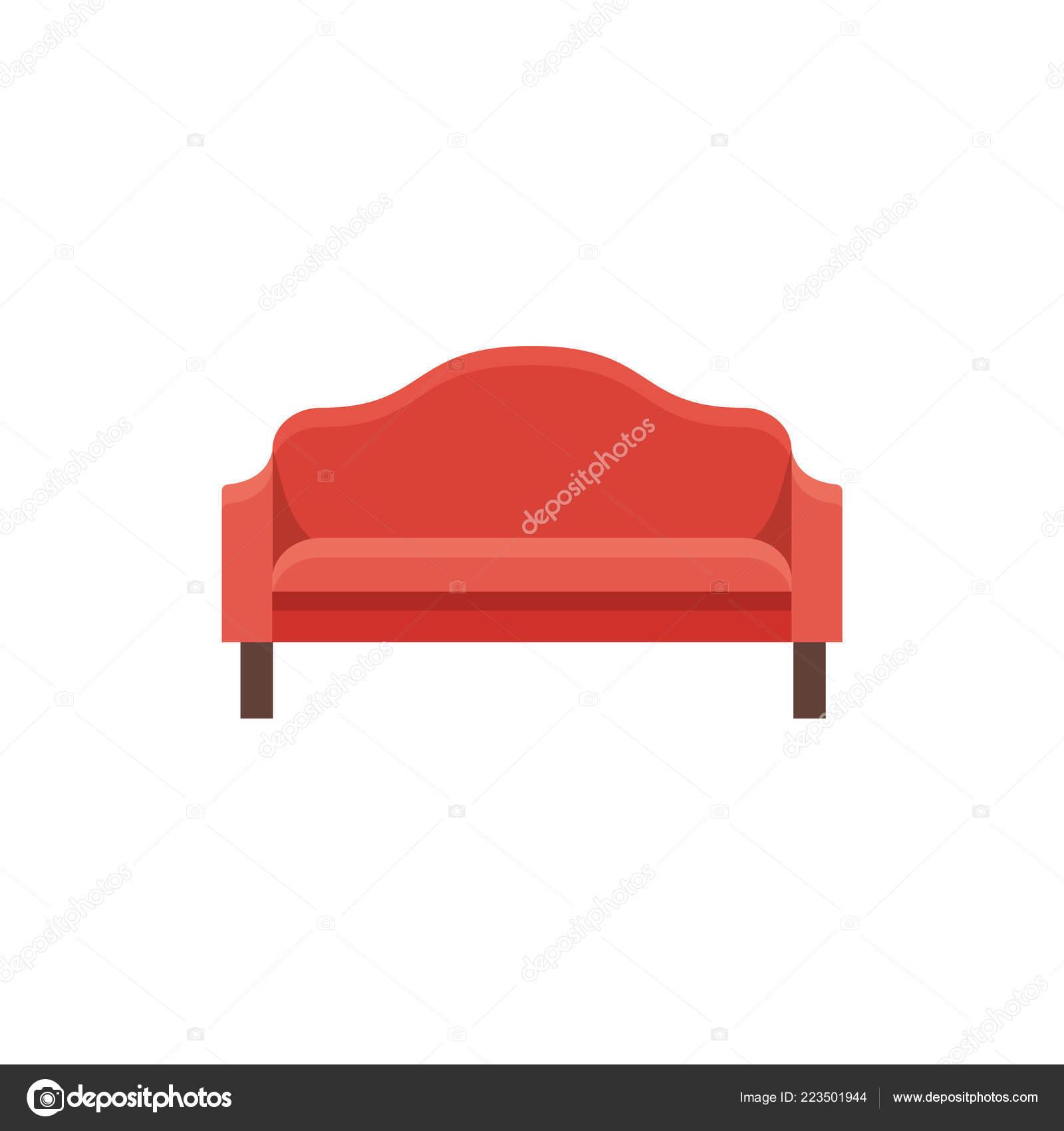 Red Sofa Vector Illustration Flat Icon Settee Element Modern ...