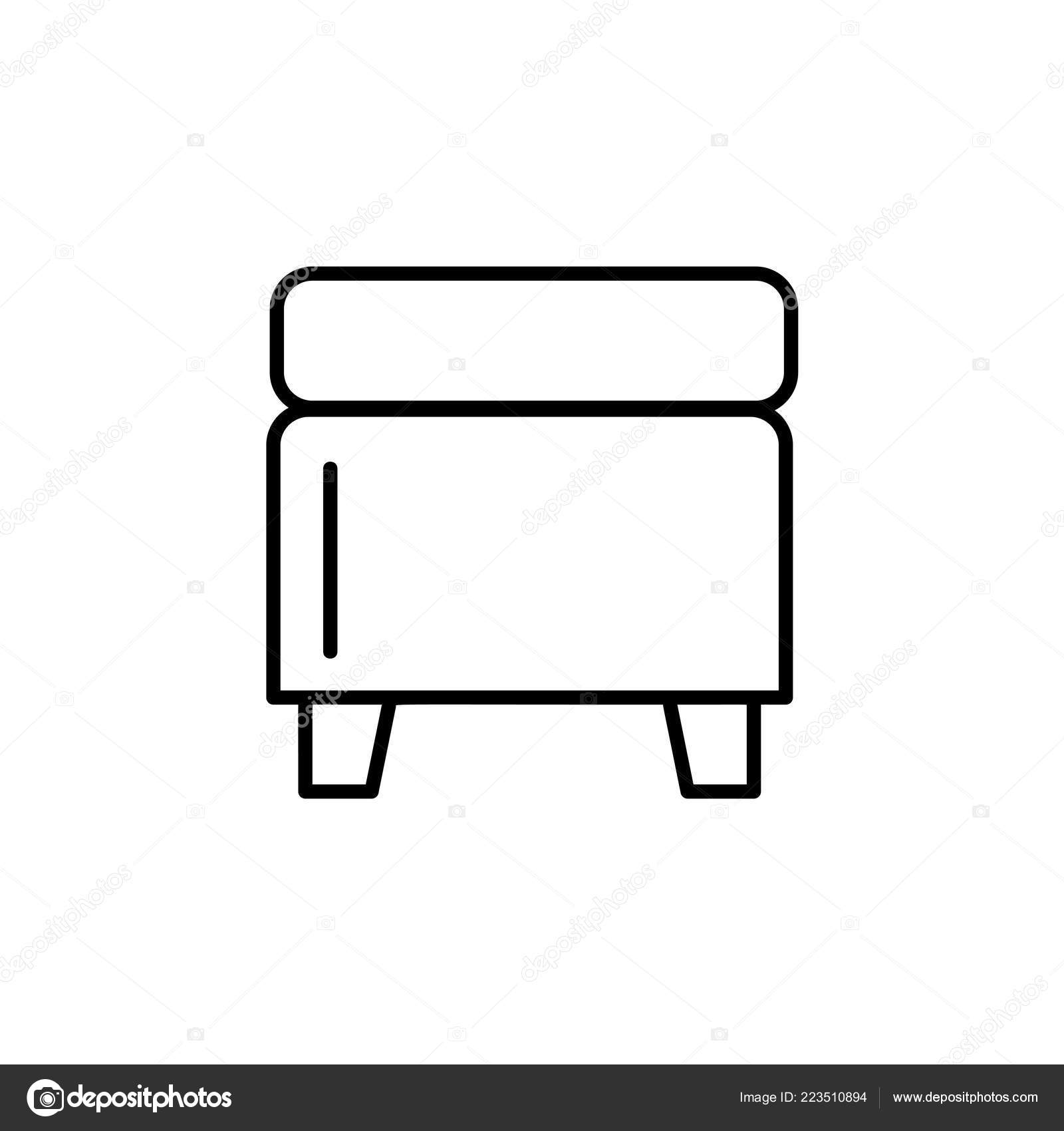 Magnificent Black White Vector Illustration Square Storage Ottoman Pouf Evergreenethics Interior Chair Design Evergreenethicsorg